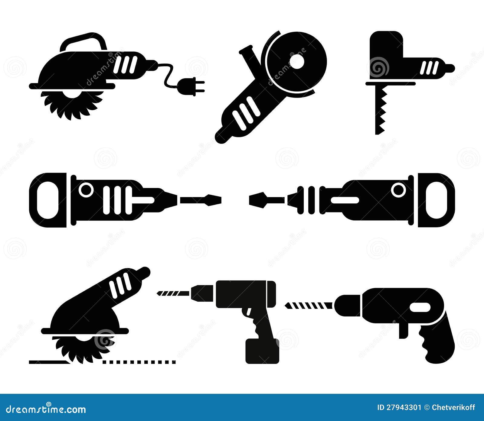 Conjunto el ctrico del icono del vector de las for Black friday herramientas electricas