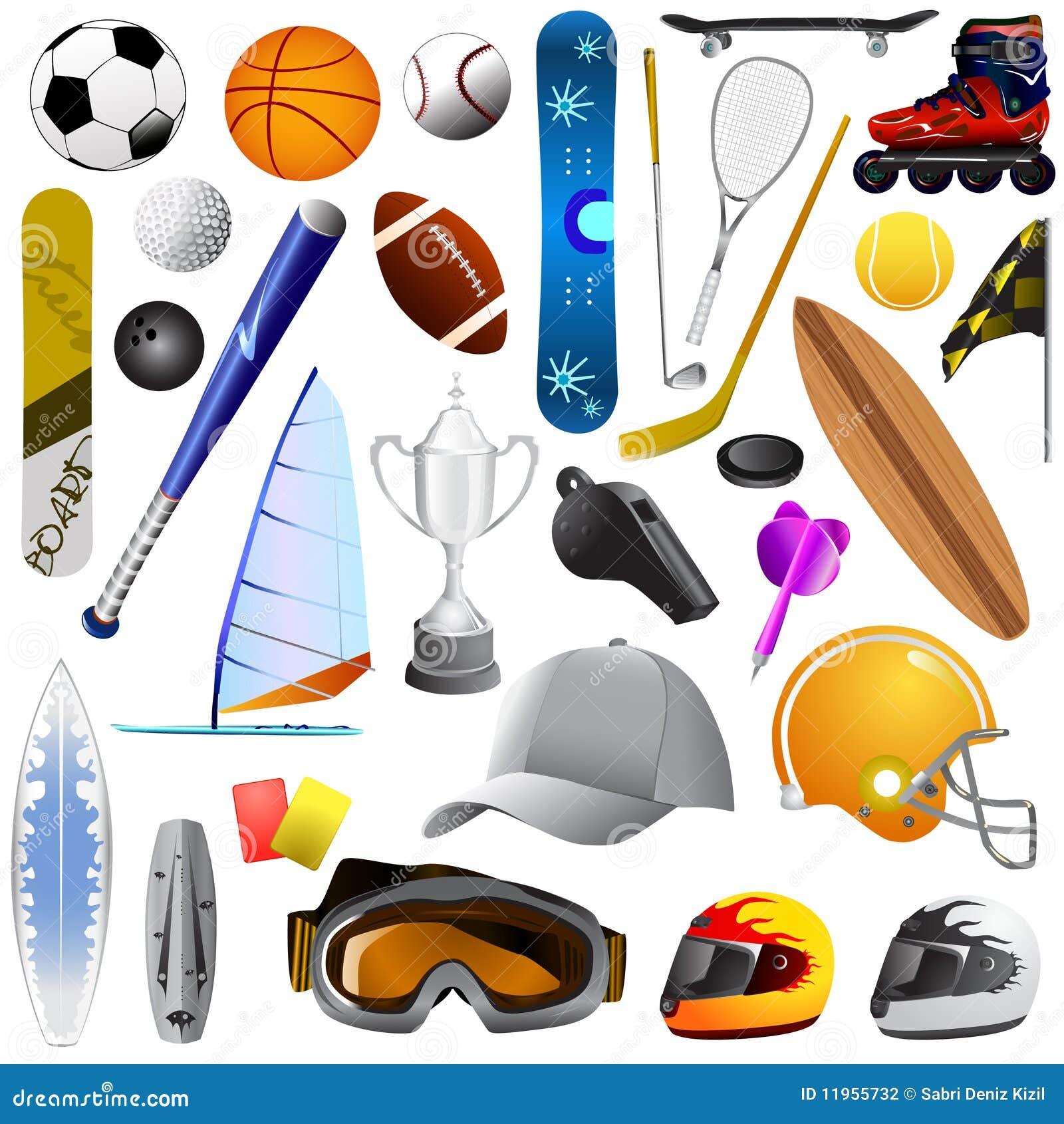 Conjunto grande de objetos del deporte
