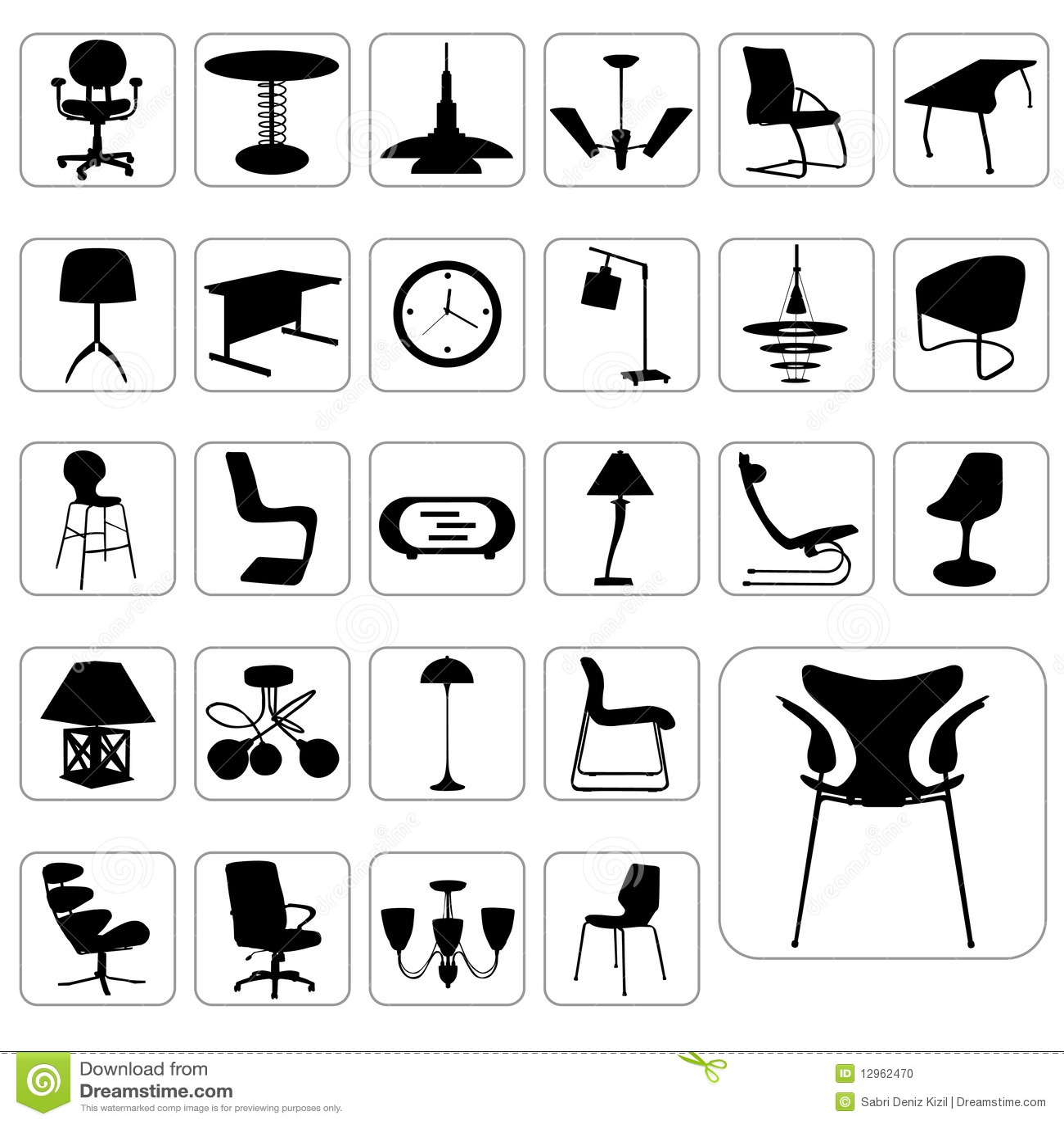 Conjunto grande del vector moderno de los muebles for Cursos de muebleria gratis