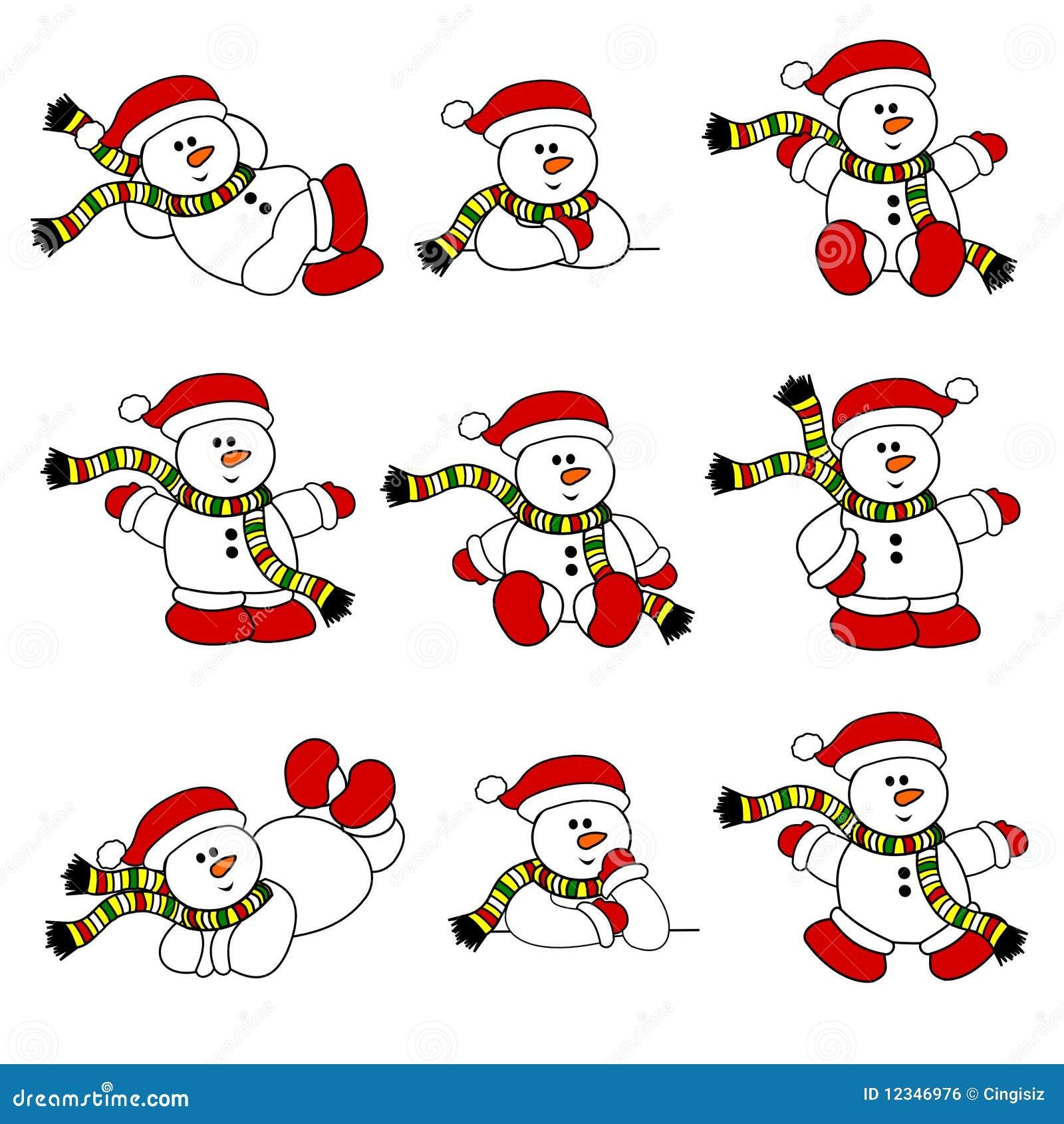 Conjunto lindo del muñeco de nieve de la Navidad