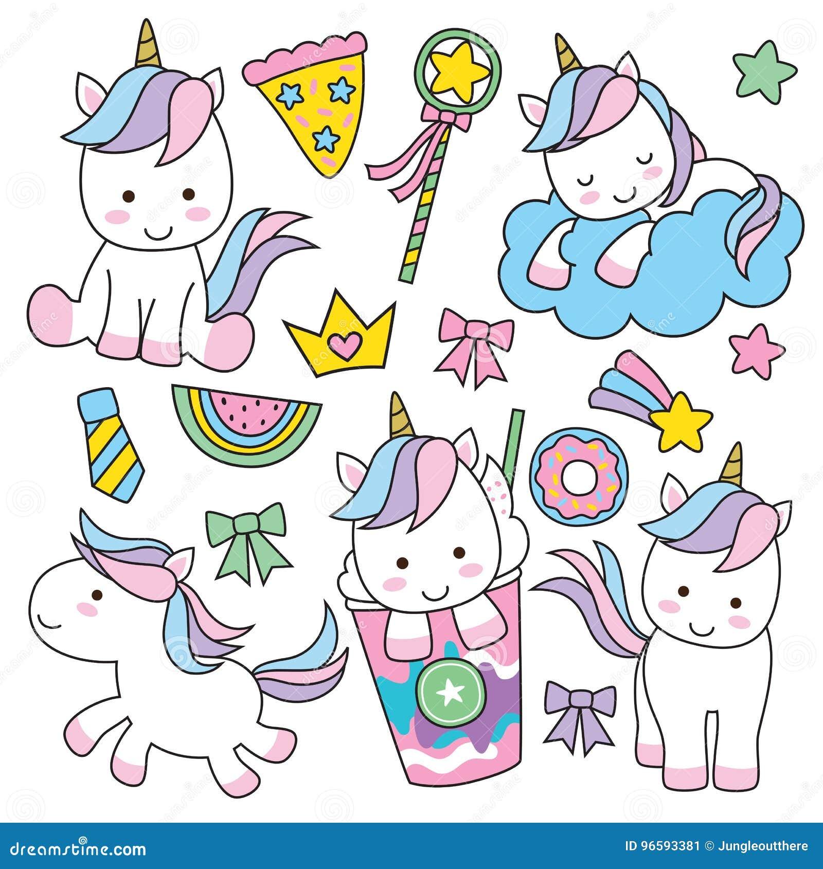 Conjunto lindo del unicornio
