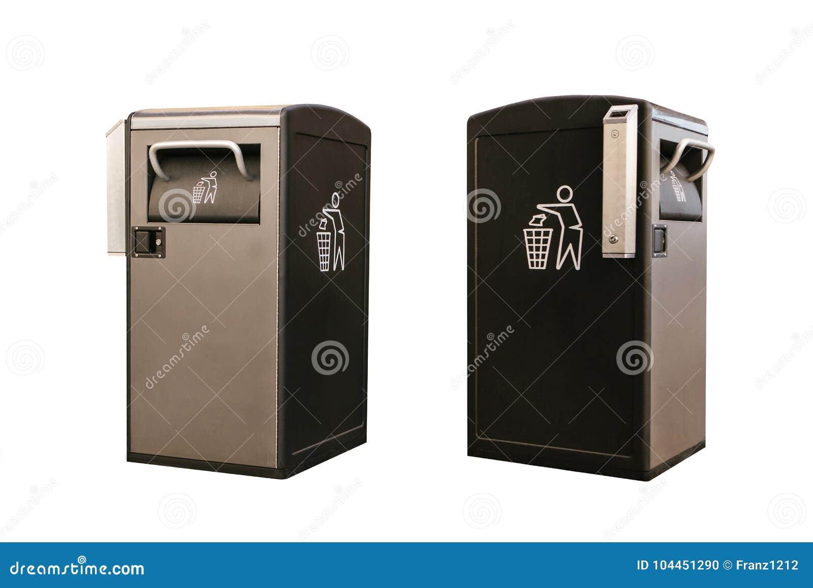 Conjunto Objetos en diversas posiciones Compartimiento elegante moderno aislado en el fondo blanco Recogida de residuos