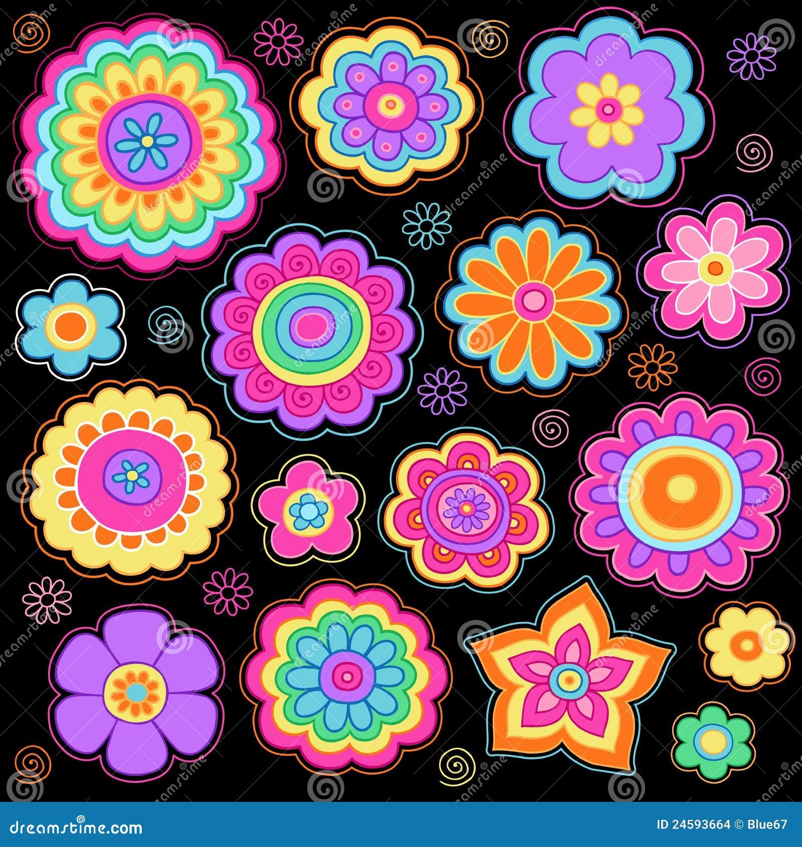 Conjunto psicodélico del vector de los Doodles de las flores maravillosas