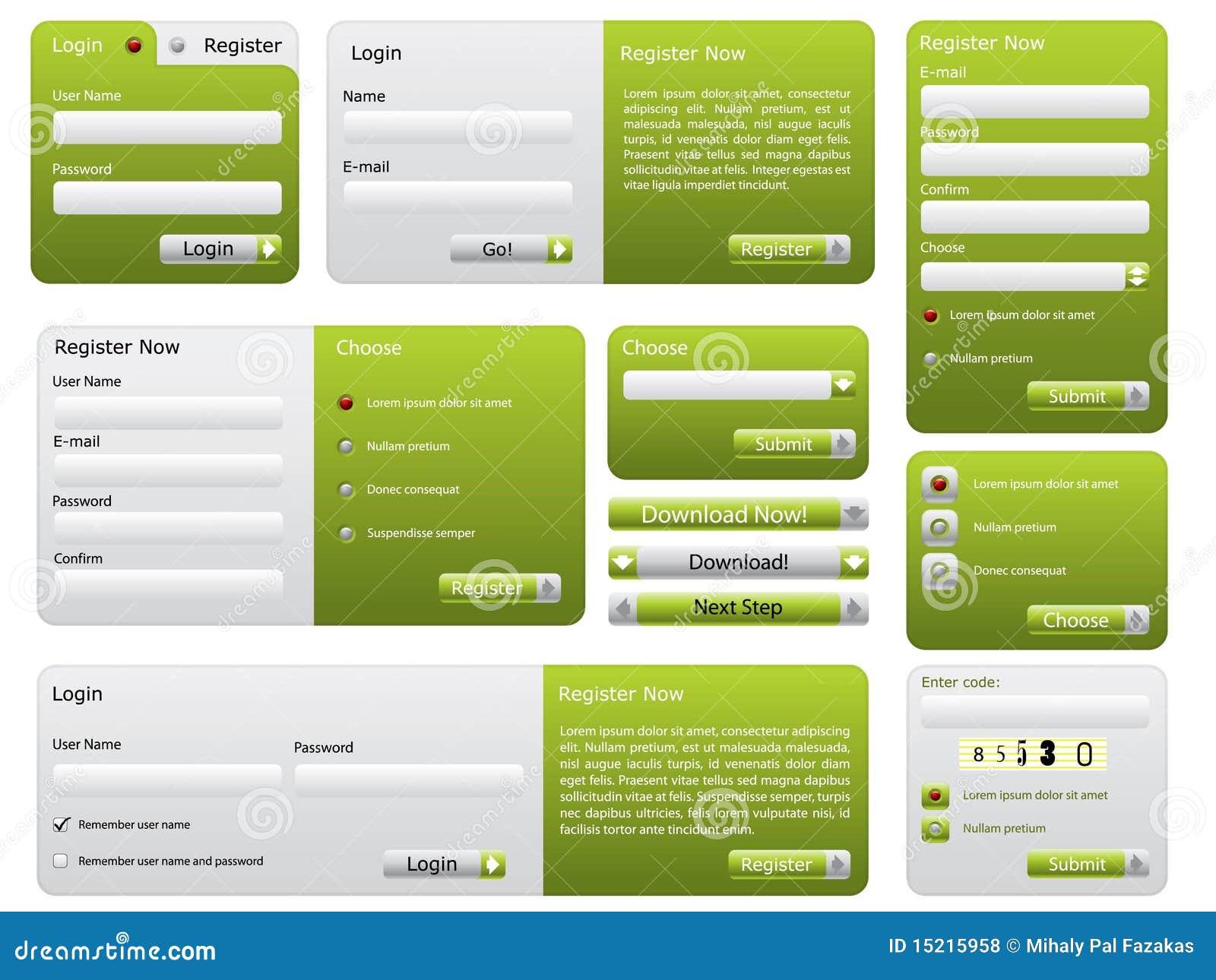 Conjunto verde de la forma del Web site