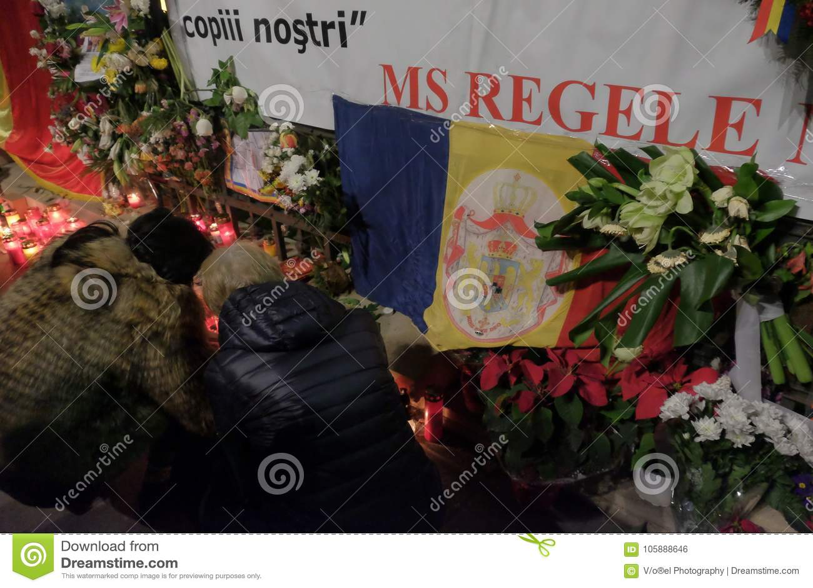 Conmemoración de rey Mihai en Royal Palace en Bucarest, Rumania