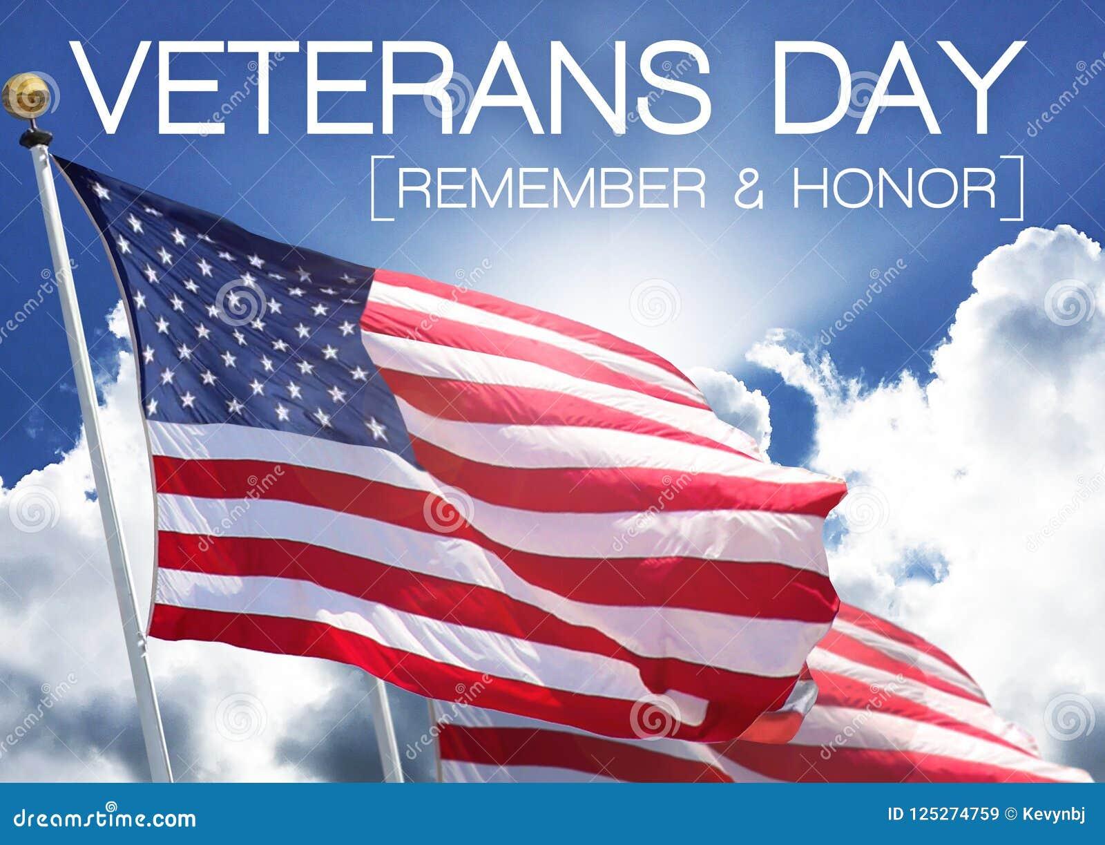 Conmemoración del cielo de la bandera del día de veteranos y dignidad del honor