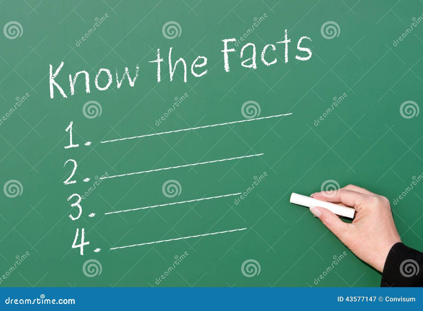 Connaissez la liste de contrôle de faits