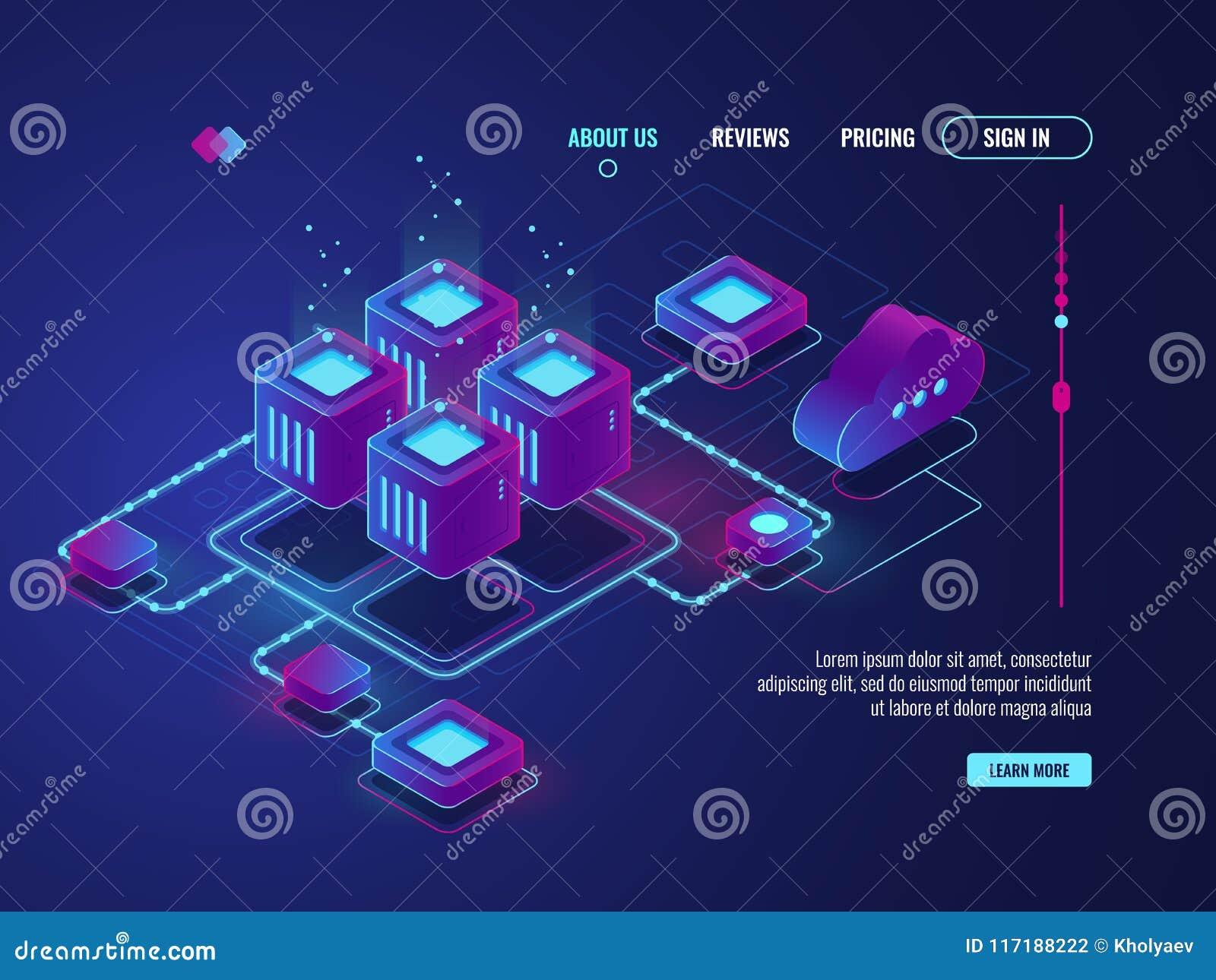 Conncetion della rete, concetto di topologia di rete internet, stanza del server, centro dati ed icona isometrici della base di d