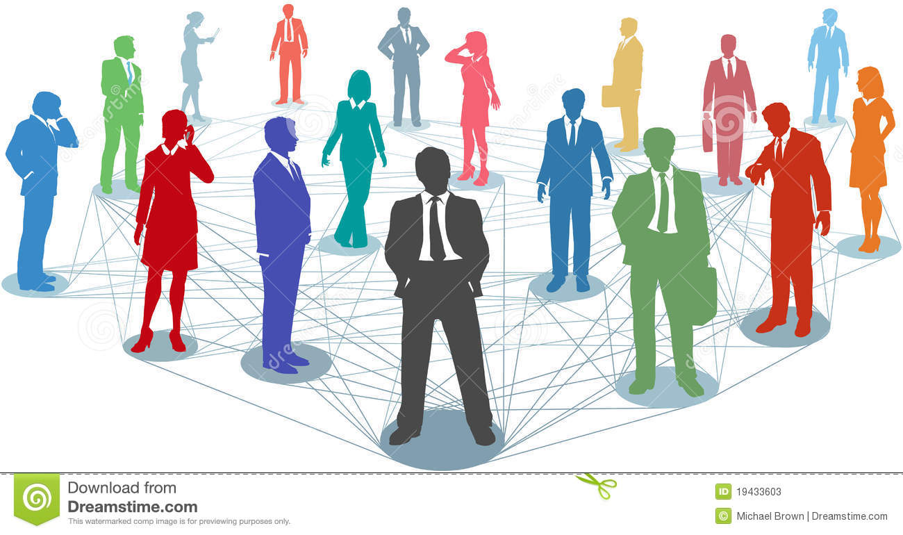 Large group of silhouette business people in nodes connected by many ...