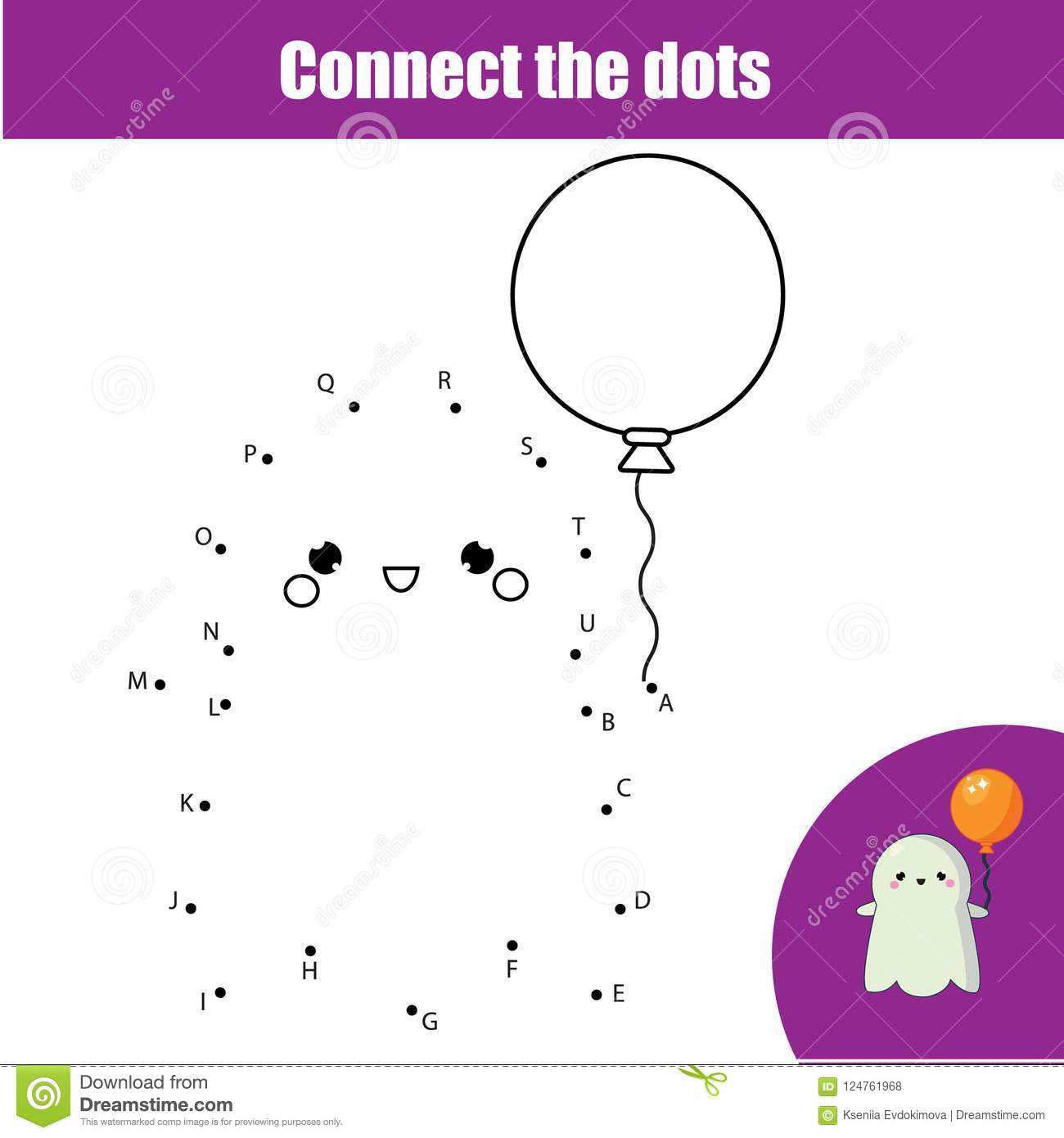connect the dots by letters children educational game halloween