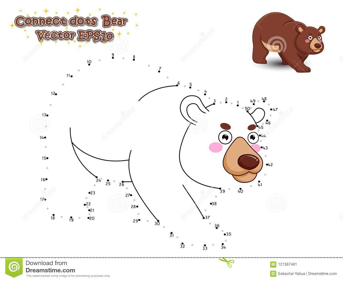 Connect The Dots And Draw Cute Cartoon Bear. Educational