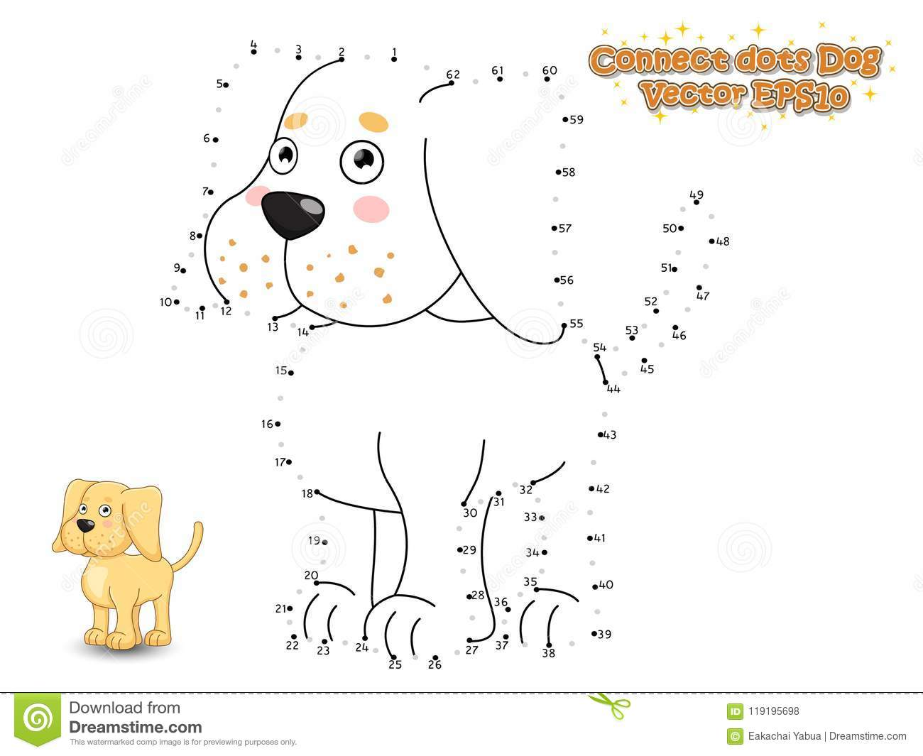 Connect The Dots And Draw Cute Cartoon Dog Puppy Labrador