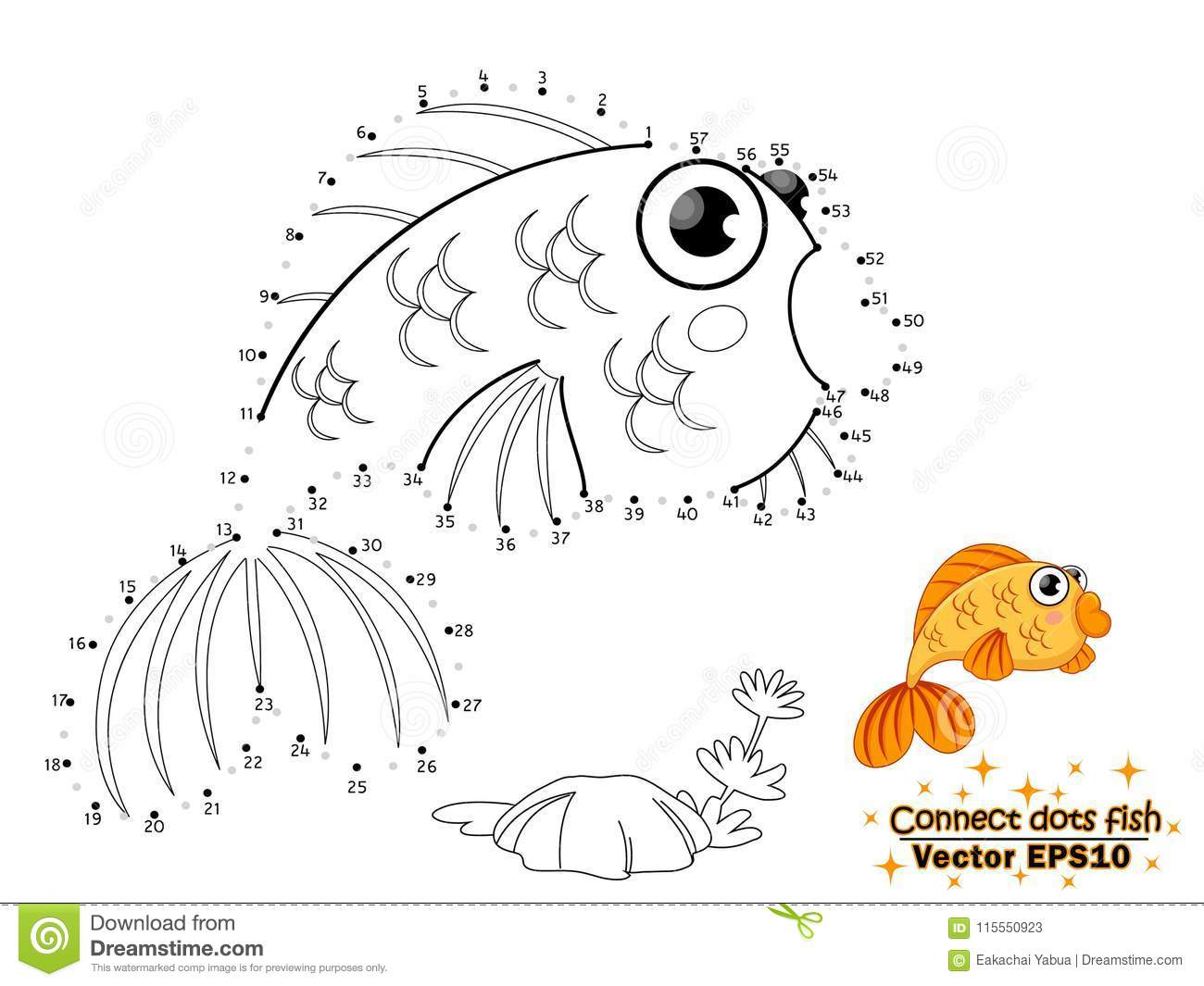 Connect the dots draw the cute cartoon fish and color education