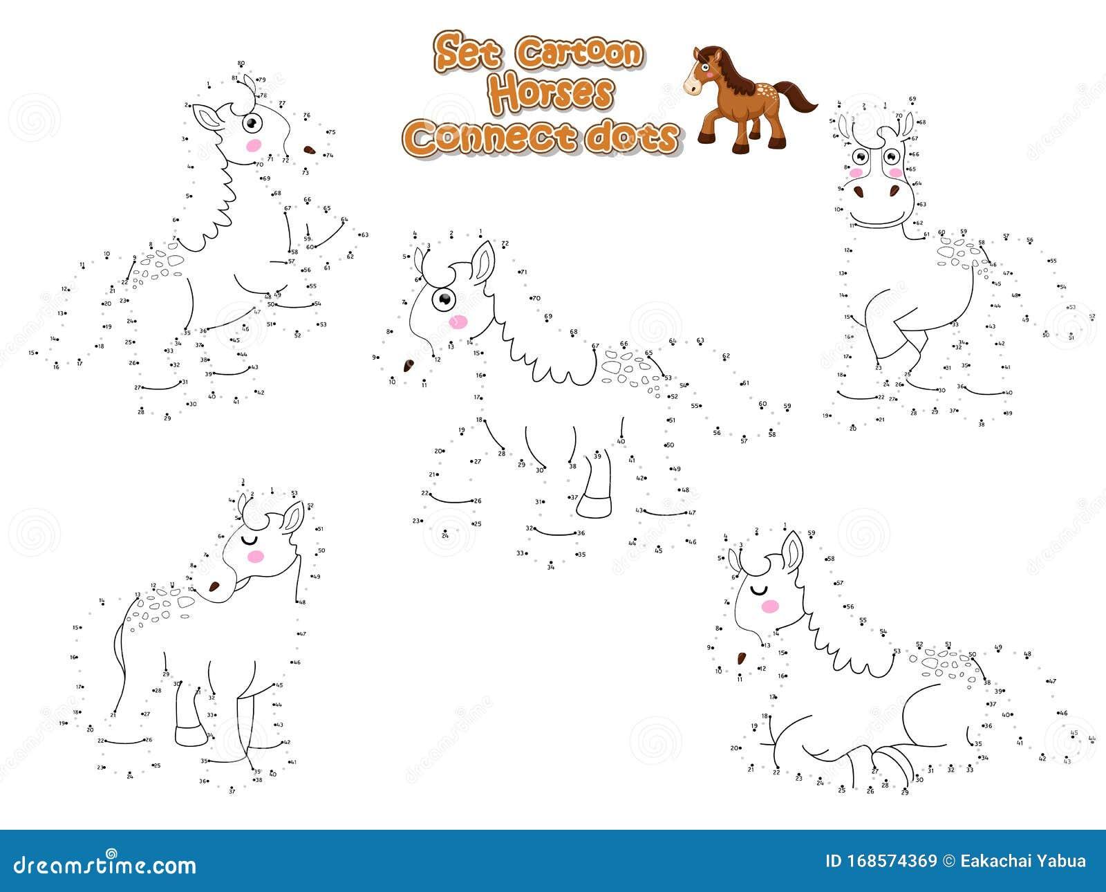 Horses Kids Illustrations Vectors