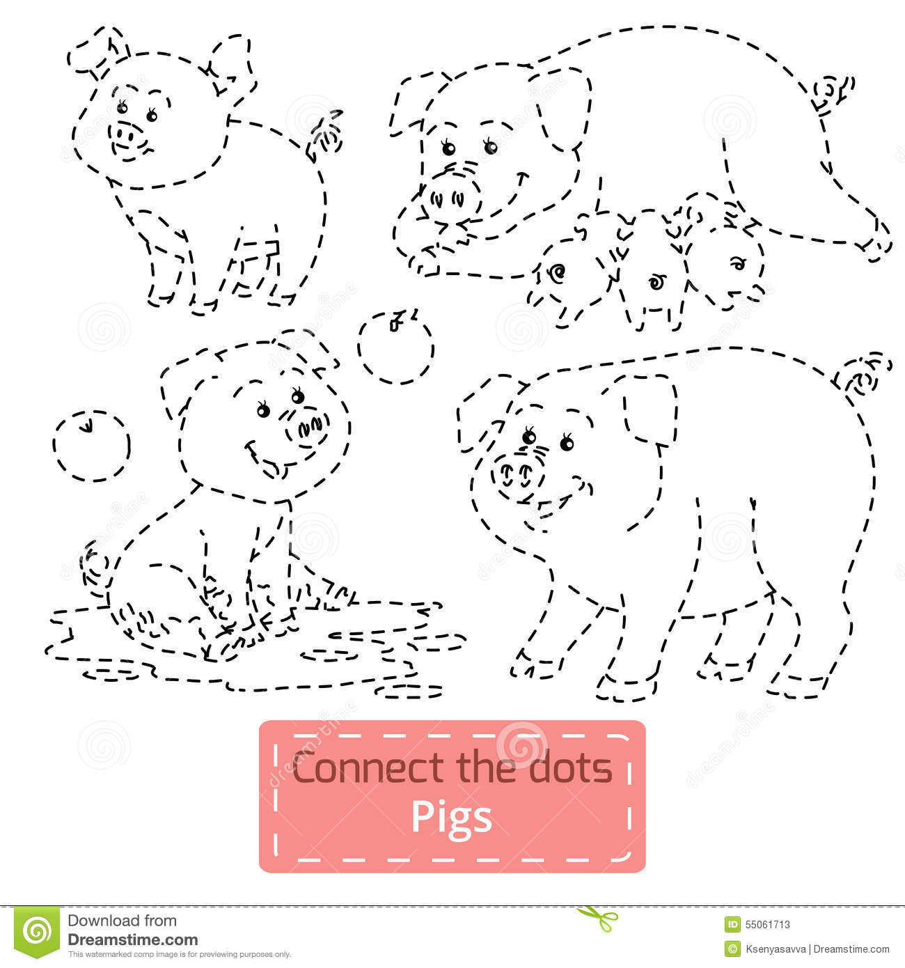 Connect The Dots Farm Animals Set Pig Family Stock
