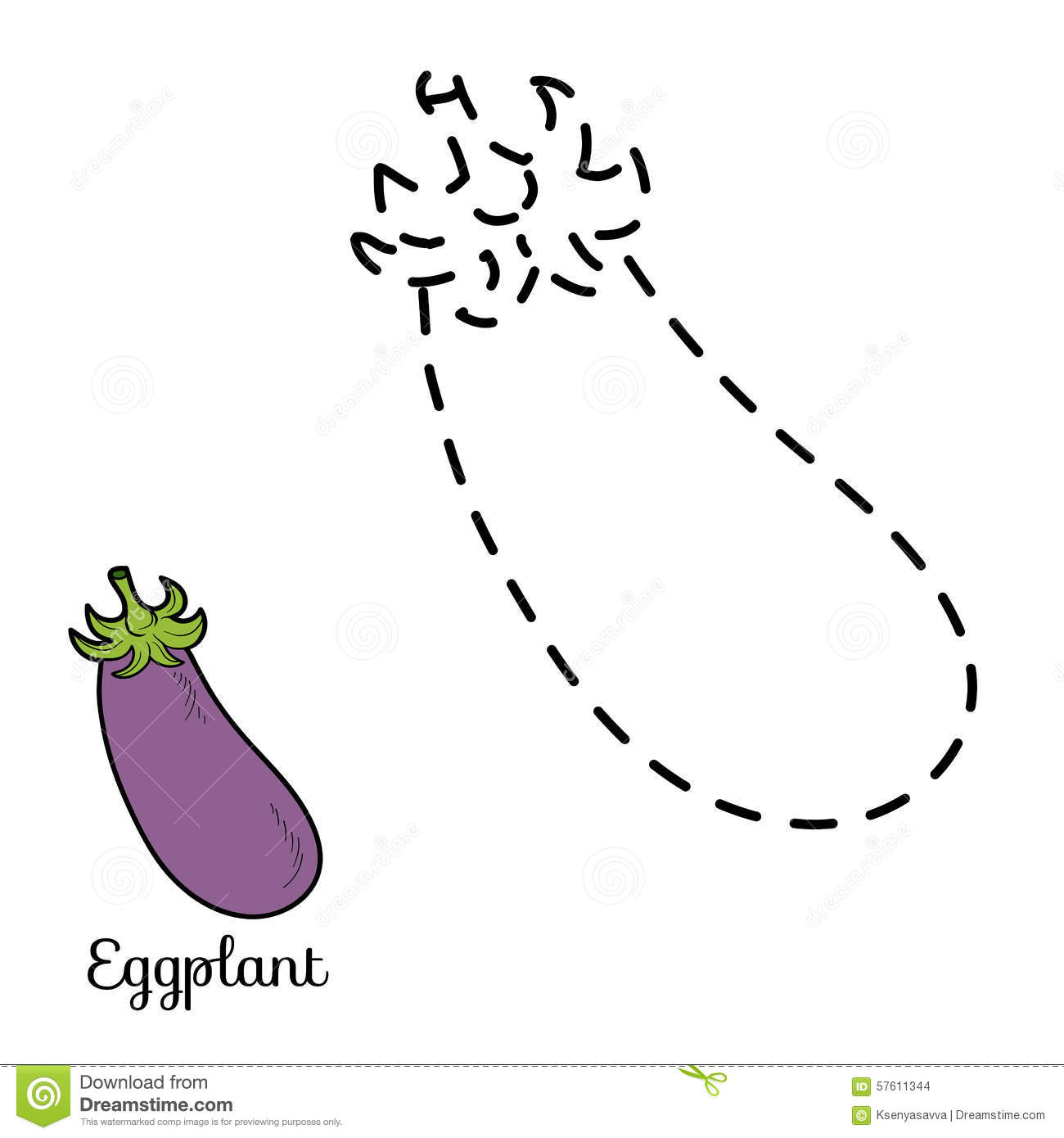 Connect The Dots Fruits And Vegetables Eggplant Stock