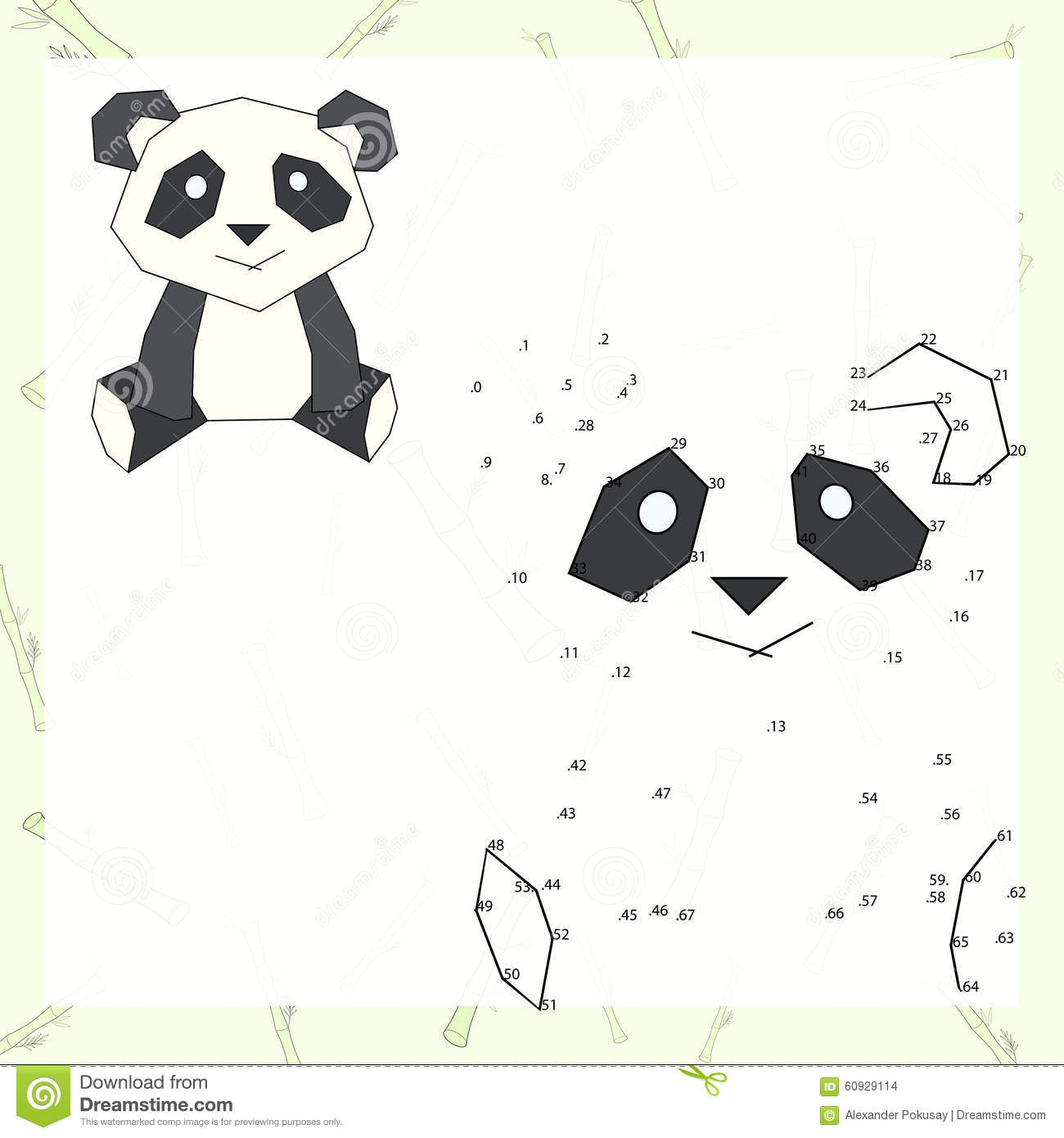 panda connect the dots and color stock vector image 97567923