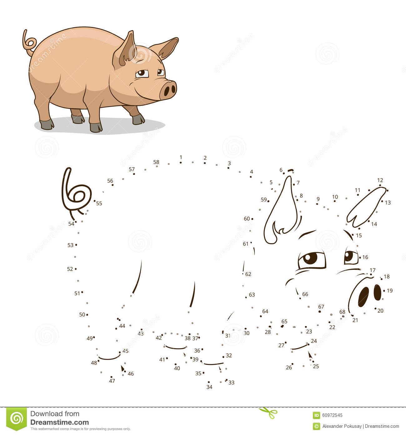 connect the dots game pig vector illustration stock vector image