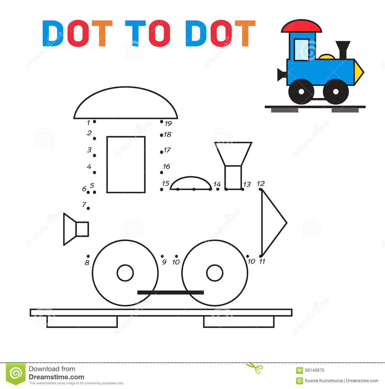 Connect The Dots Game Train Vector Stock Vector ...