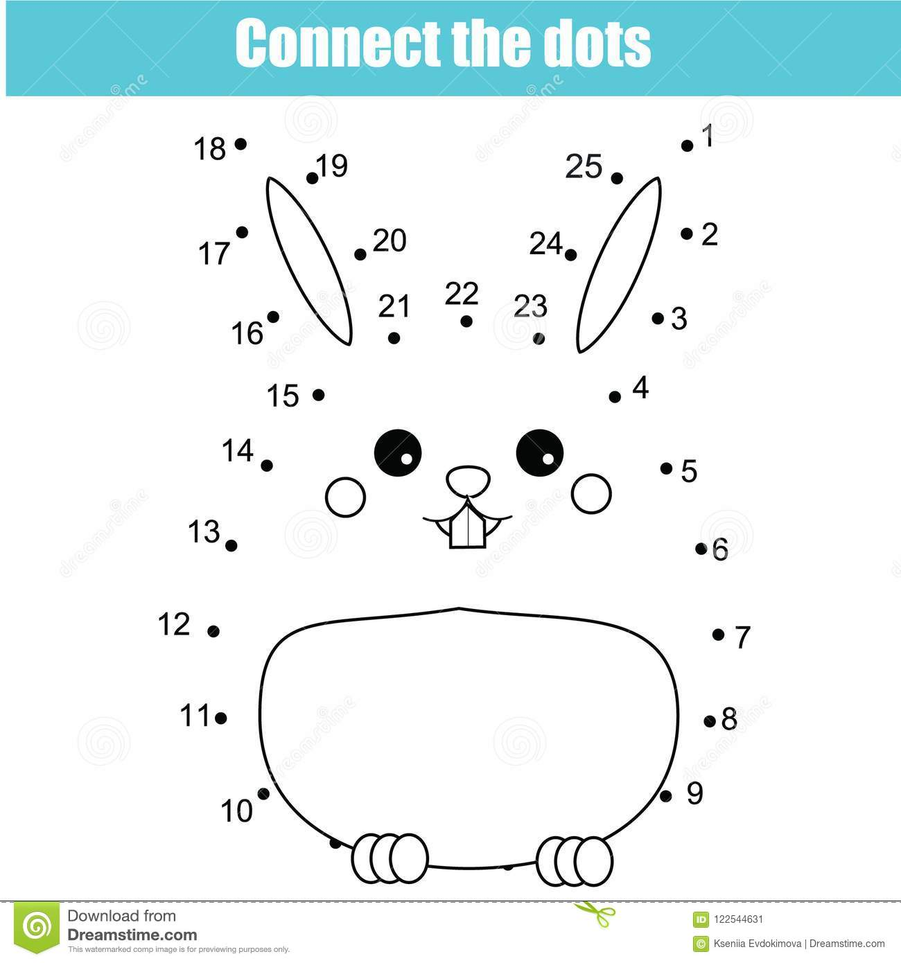 Connect The Dots By Numbers Children Educational Game. Animals ...