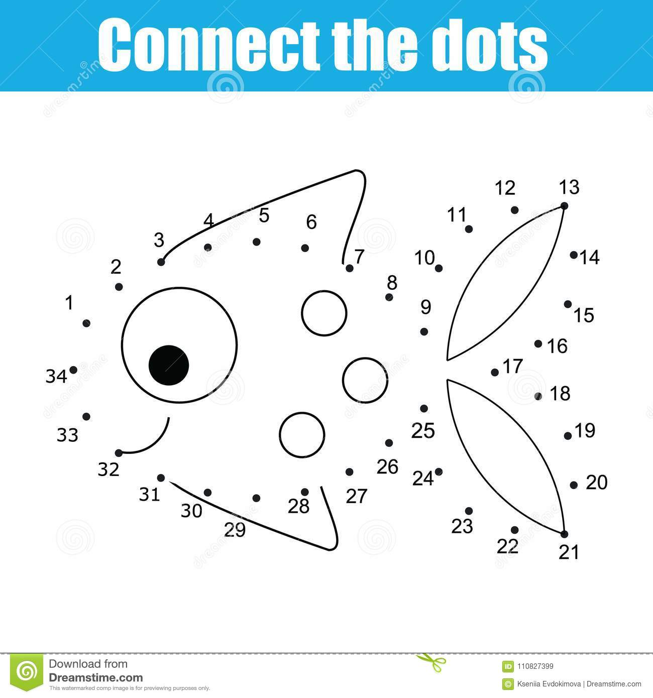 connect the dots by numbers children educational game printable worksheet activity fish stock. Black Bedroom Furniture Sets. Home Design Ideas