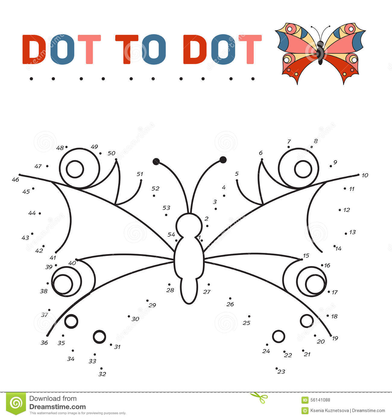 Connect The Dots And Paint A Butterfly On A Sample Stock Vector - Image: 56141088