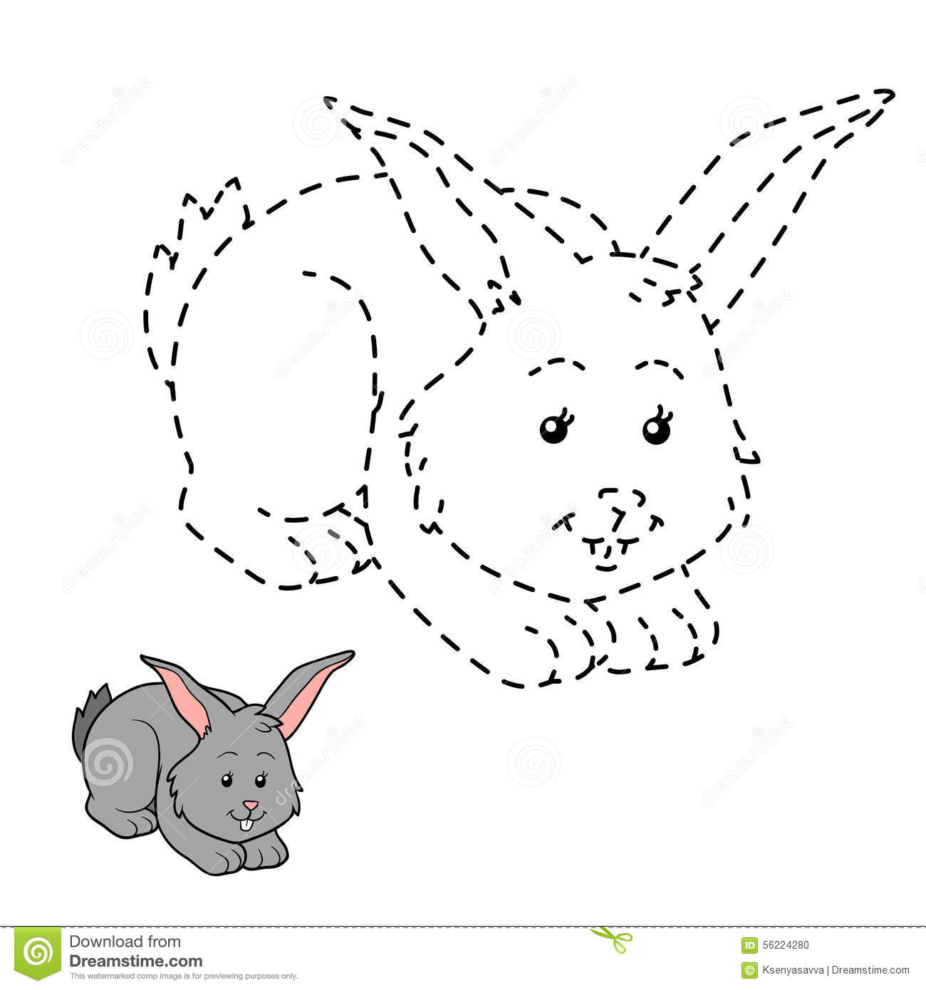 Connect The Dots Rabbit Stock Vector Image 56224280