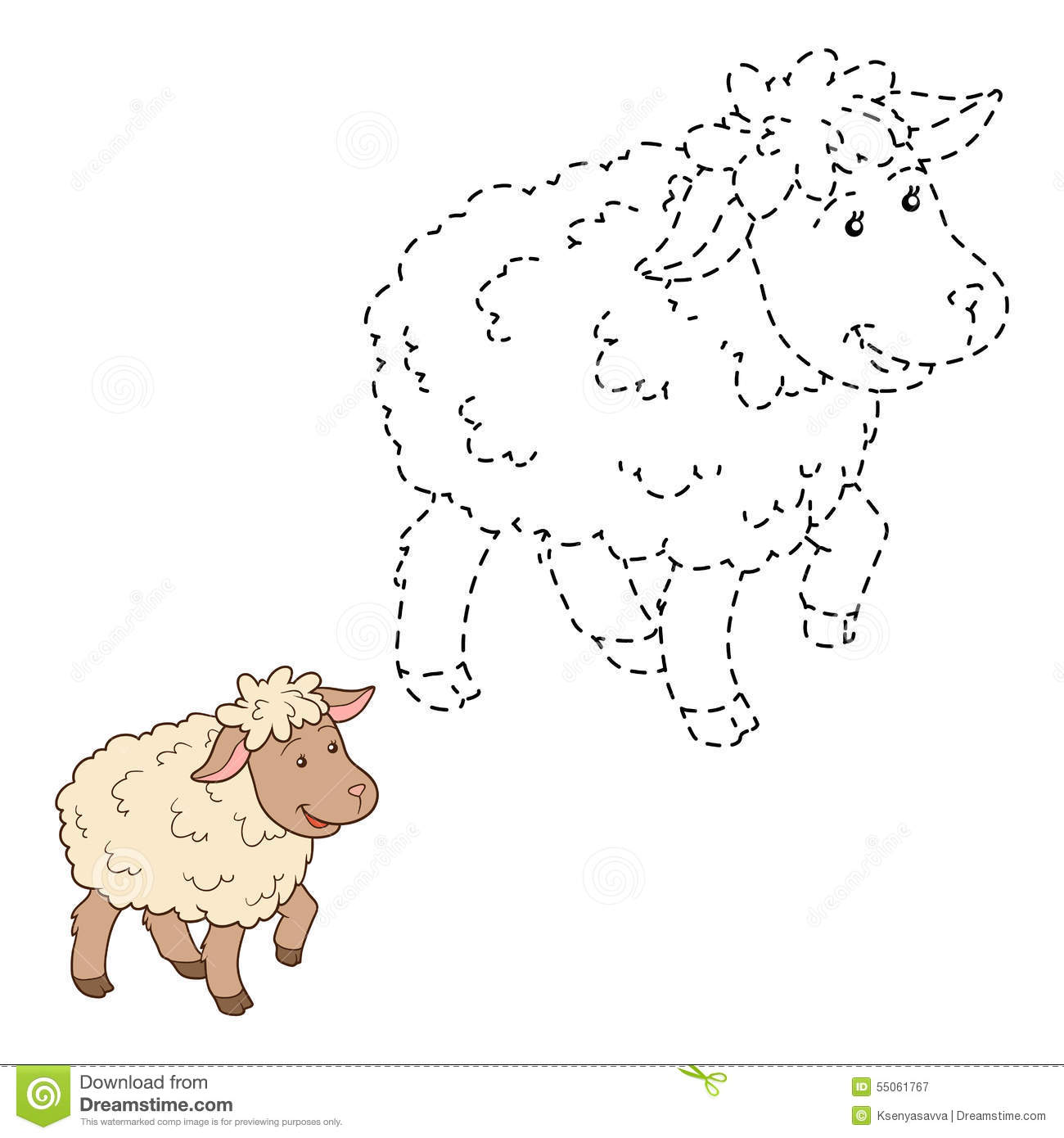 connect the dots sheep stock vector image 55061767