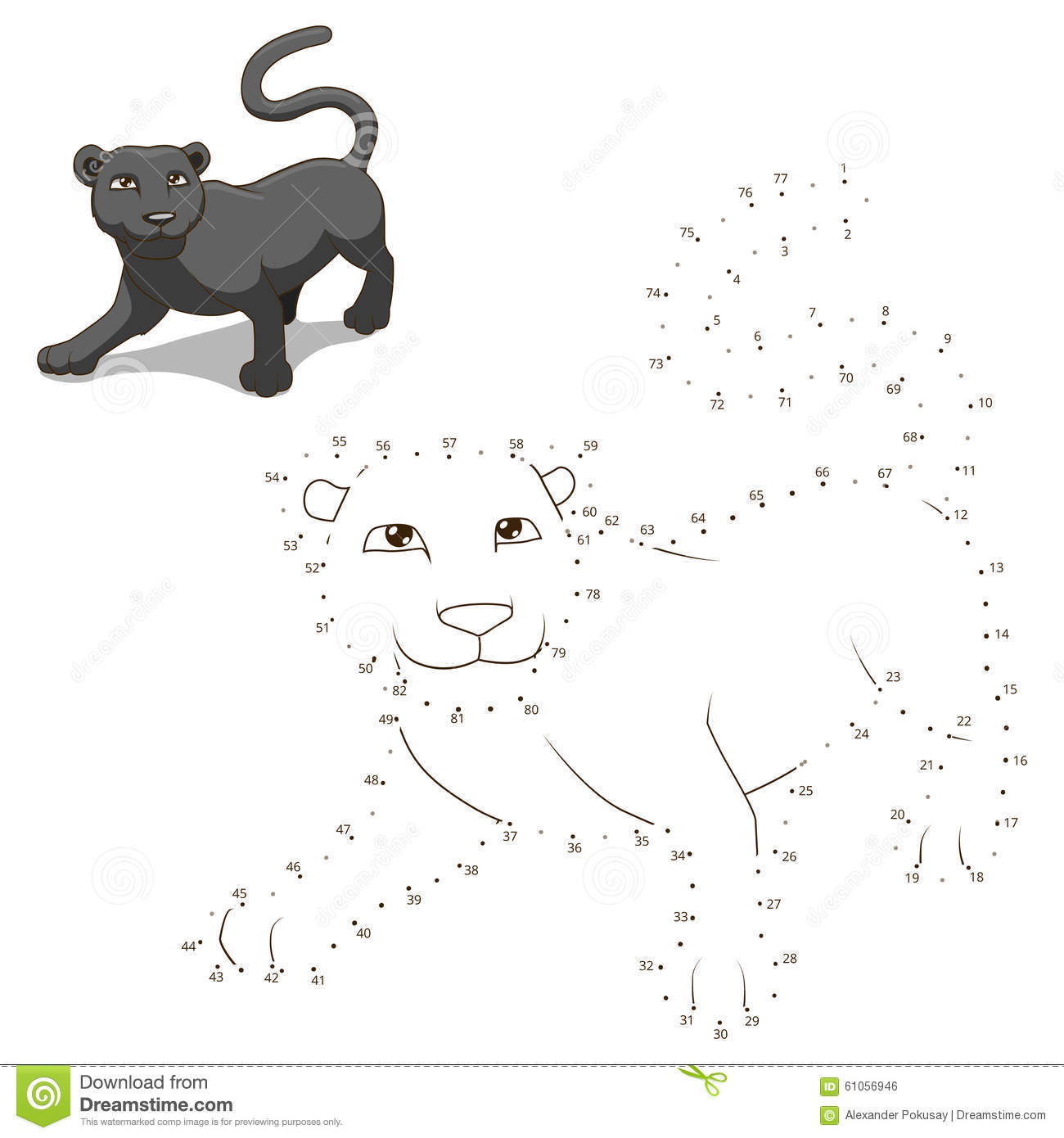 connect the dots to draw animal educational game stock vector
