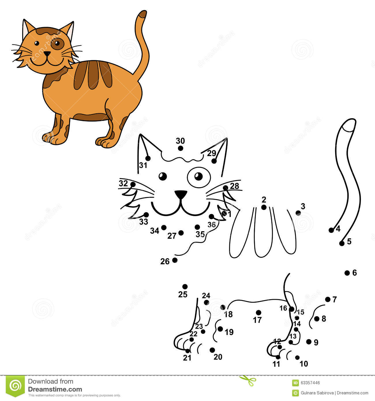 how to draw a cat using numbers