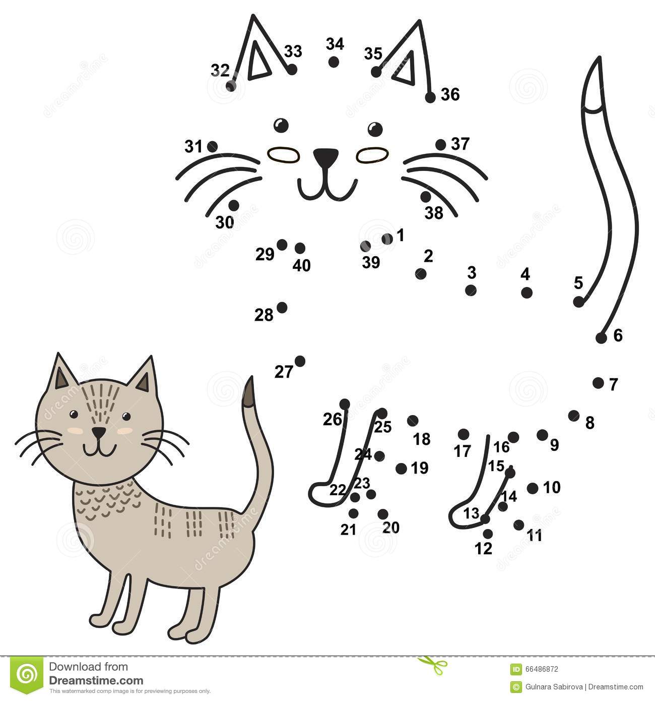 connect-dots-to-draw-cute-cat-color-educational-numbers-coloring-game-children-vector-illustration-66486872