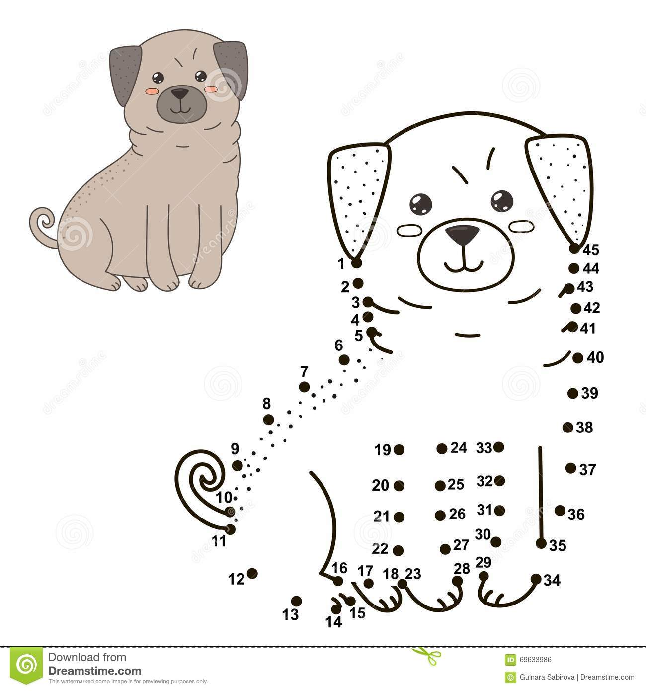 Connect The Dots To Draw The Cute Dog And Color It Stock Vector ...
