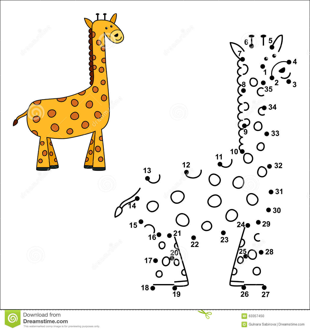Connect The Dots To Draw The Cute Giraffe And Color It Stock Vector ...