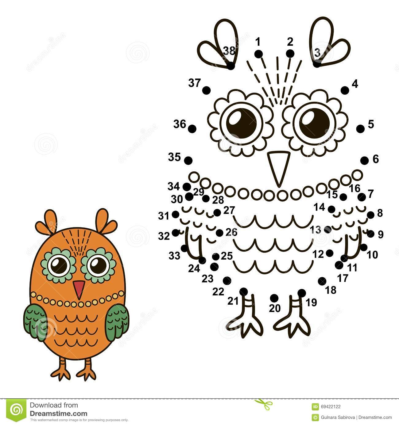 connect the dots to draw the cute owl and color it stock vector
