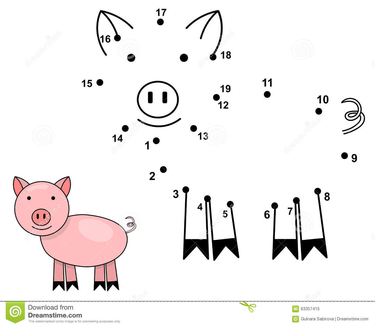 Stock Illustration Connect Dots To Draw Cute Pig Educational Numbers Game Children Vector Illustration Image63357415 on Farm Animal Dot To Dots