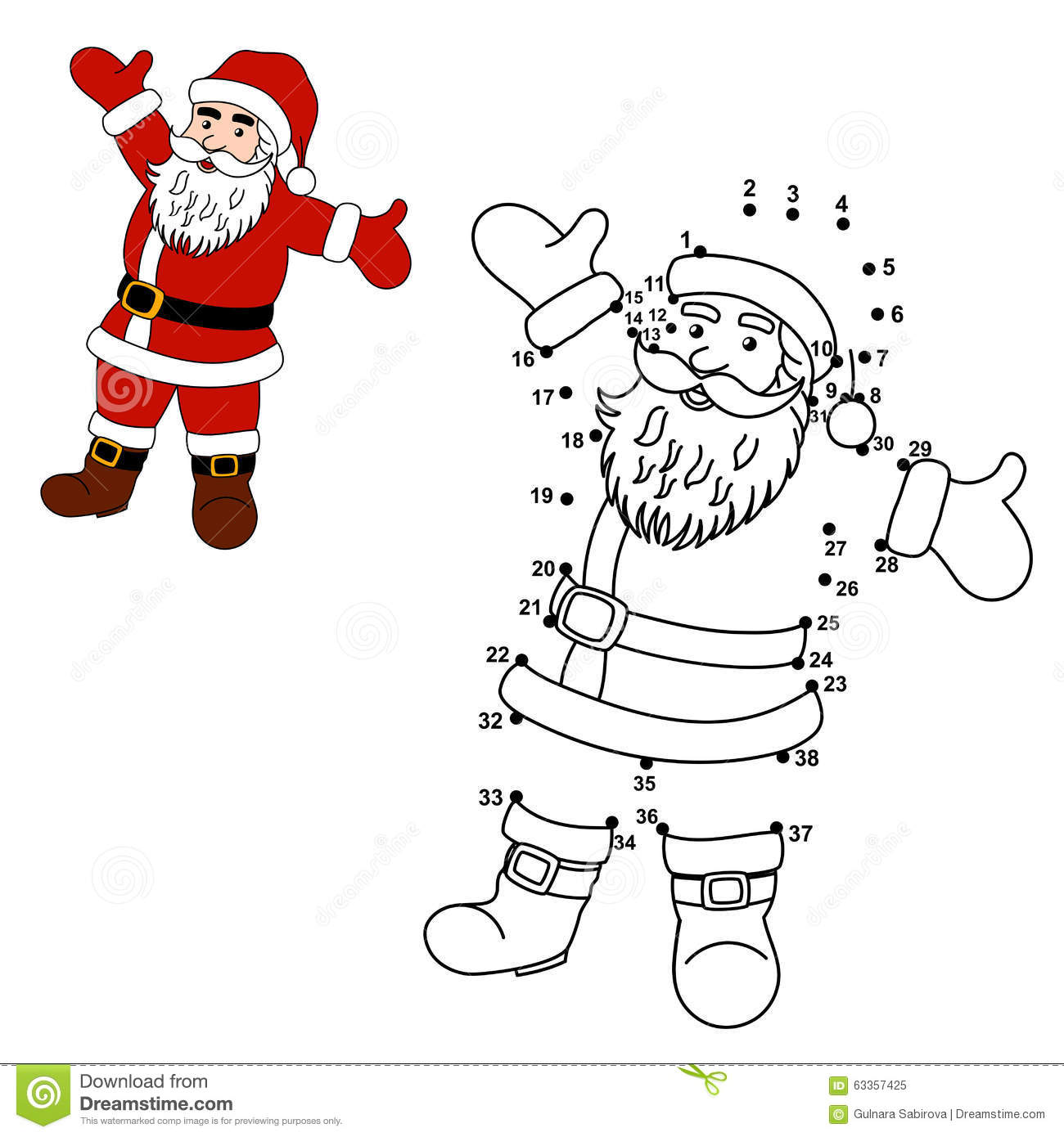 ... Dots To Draw Santa Claus And Color Him Stock Vector - Image: 63357425