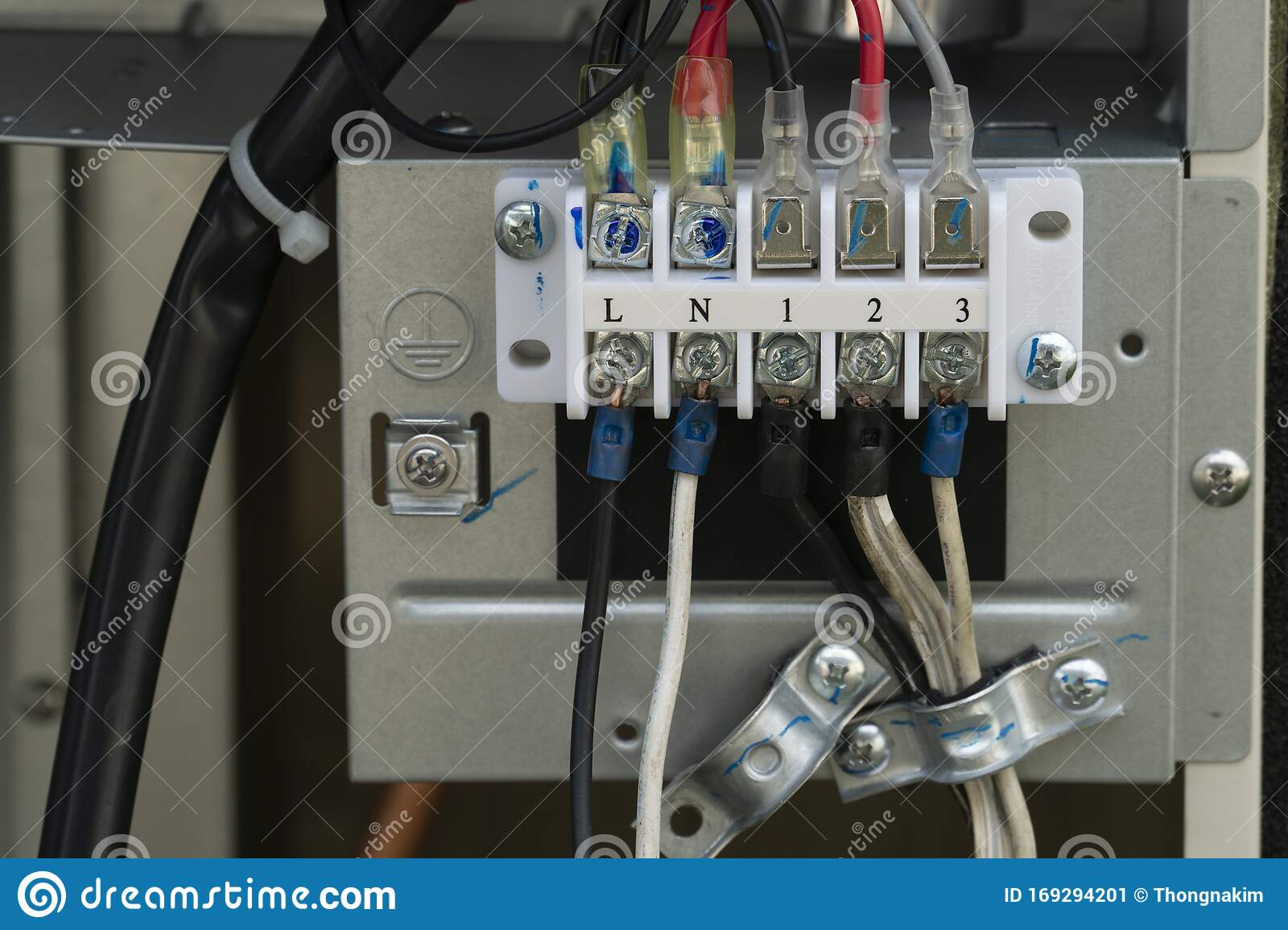 Connect The Electrical Wiring Inside The Air Conditioner Cabinet Stock Image Image Of Electrician Control 169294201