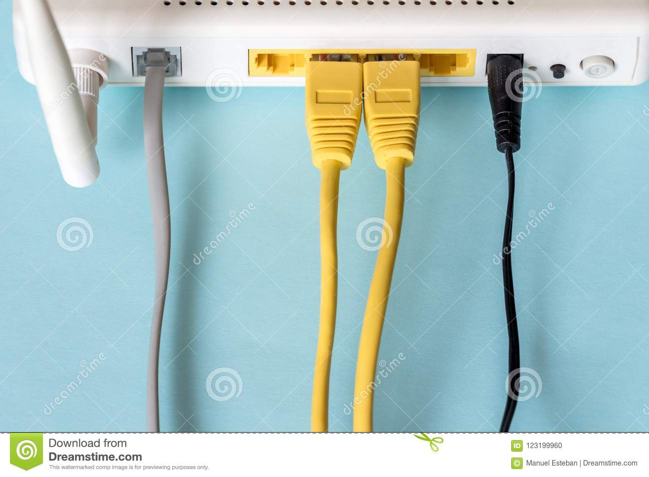 Connect An Ethernet Cable To A Wireless Router Stock Photo - Image ...