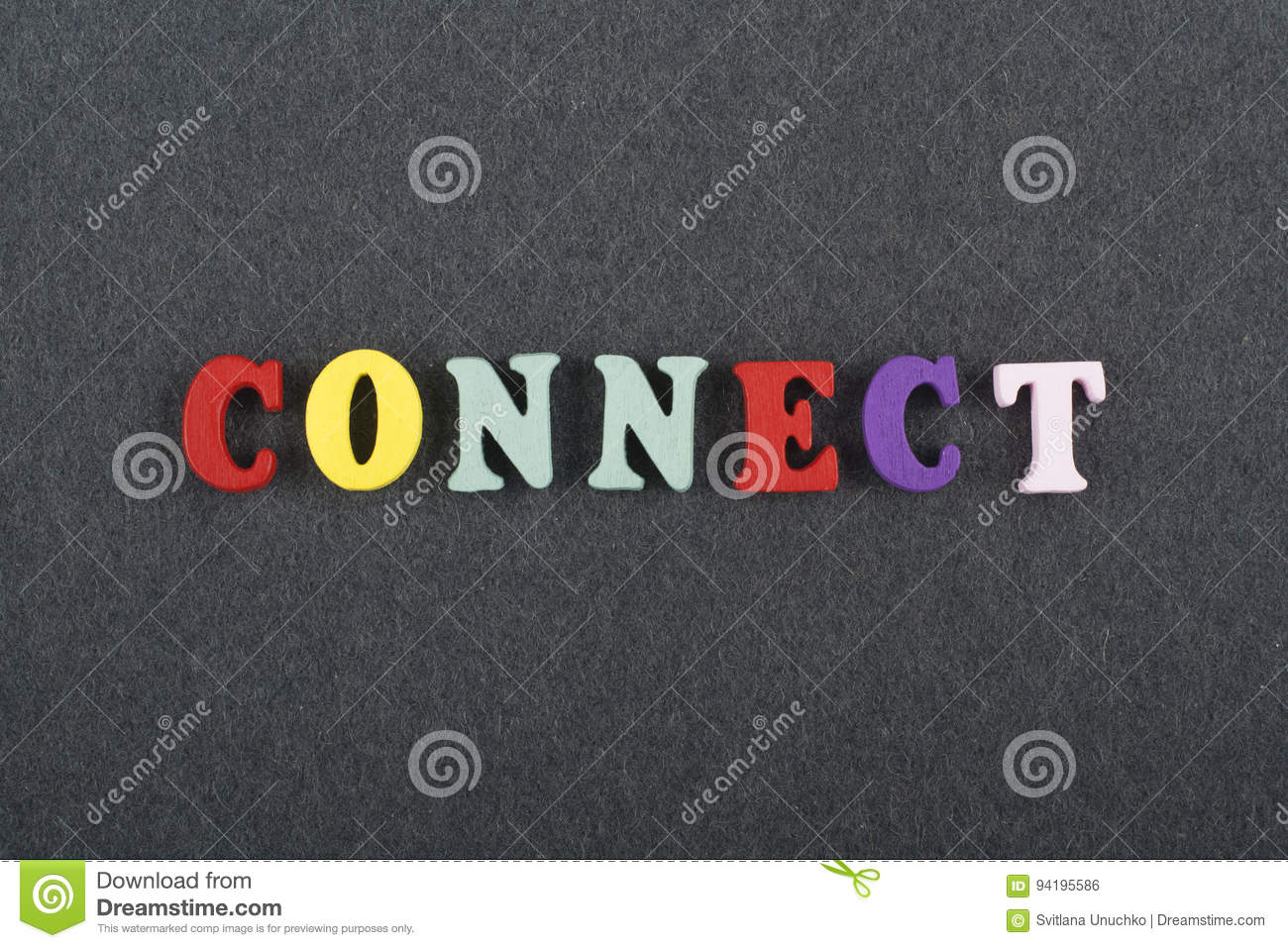 CONNECT word on black board background composed from colorful abc alphabet block wooden letters, copy space for ad text