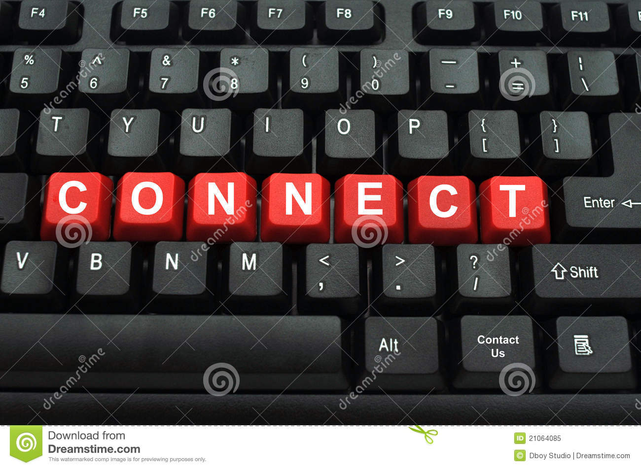 Connect word on black keyboard