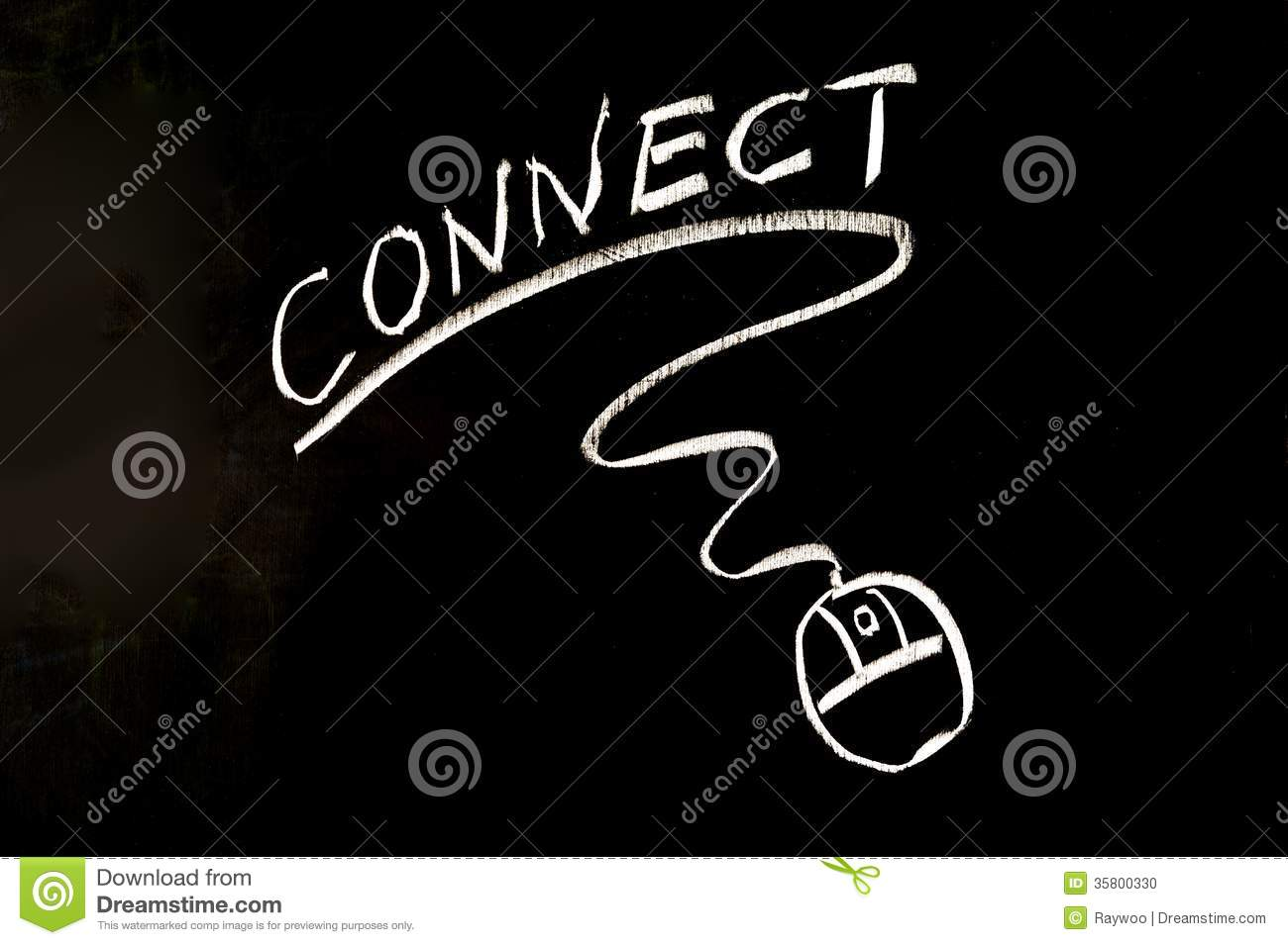 Connect word and mouse symbol