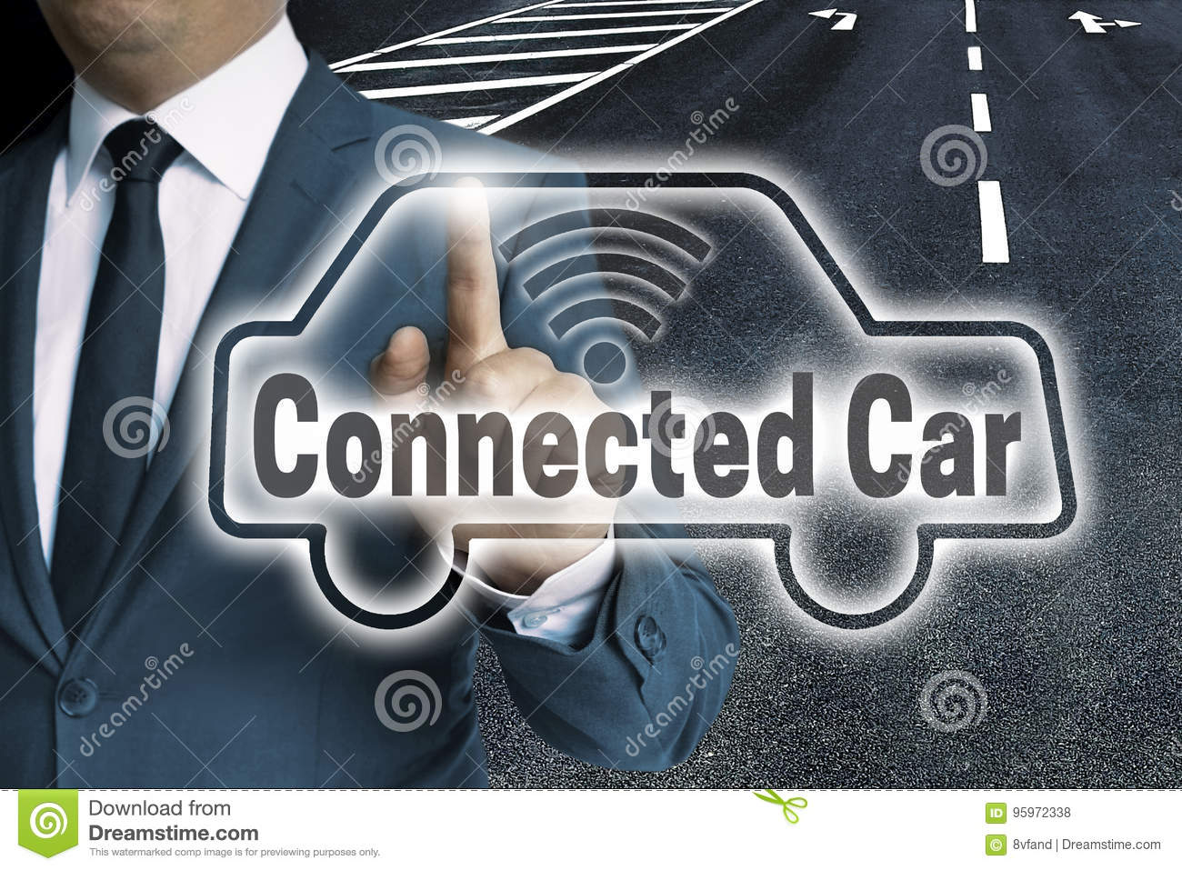 Connected Car Auto touchscreen is operated by man