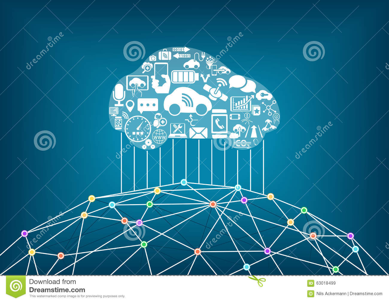 connected car and internet of things concept  stock vector