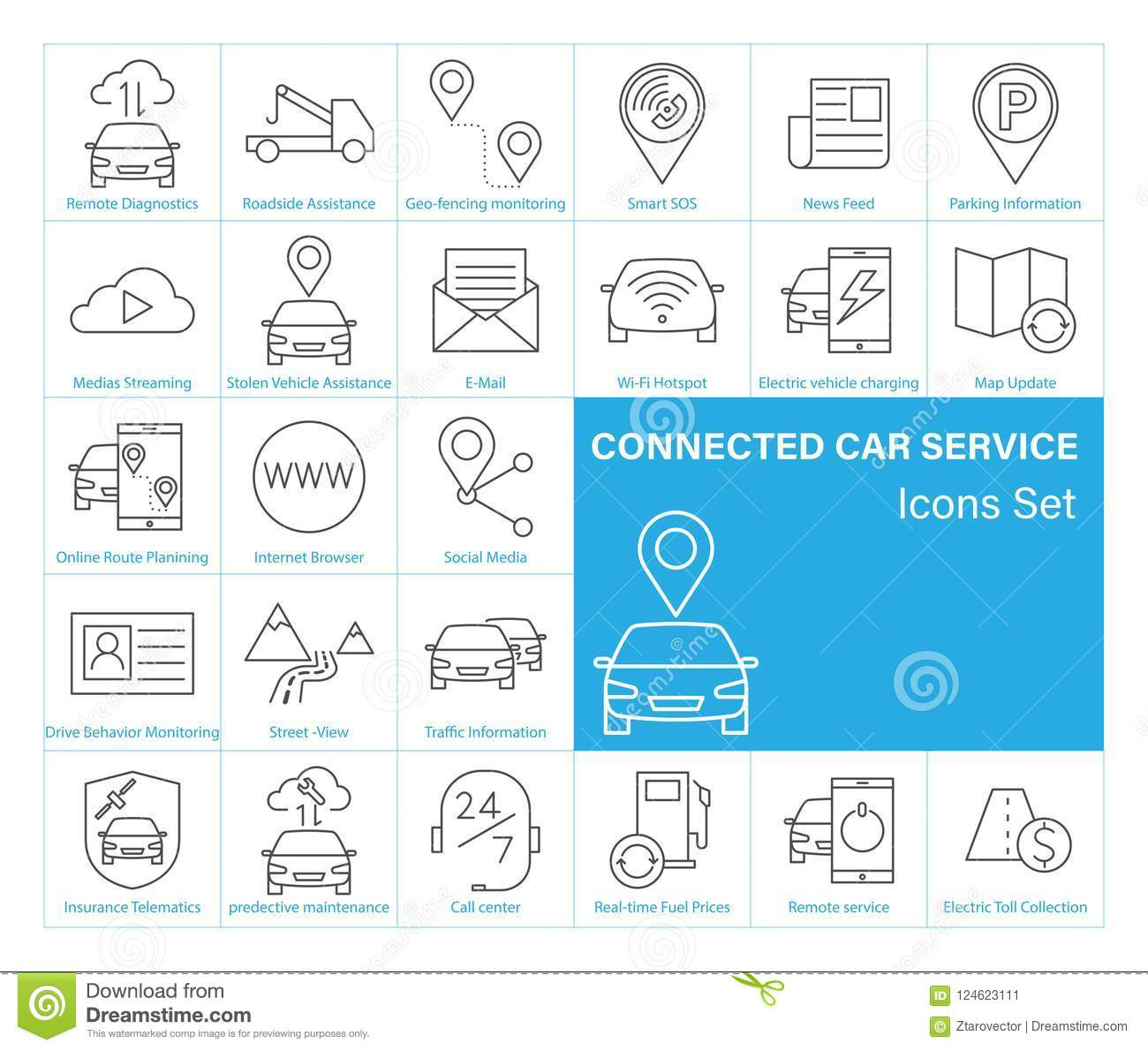 Connected Car Service Icons Set Stock Vector Illustration Of Electrical Symbol Icon Isolated On A White Background