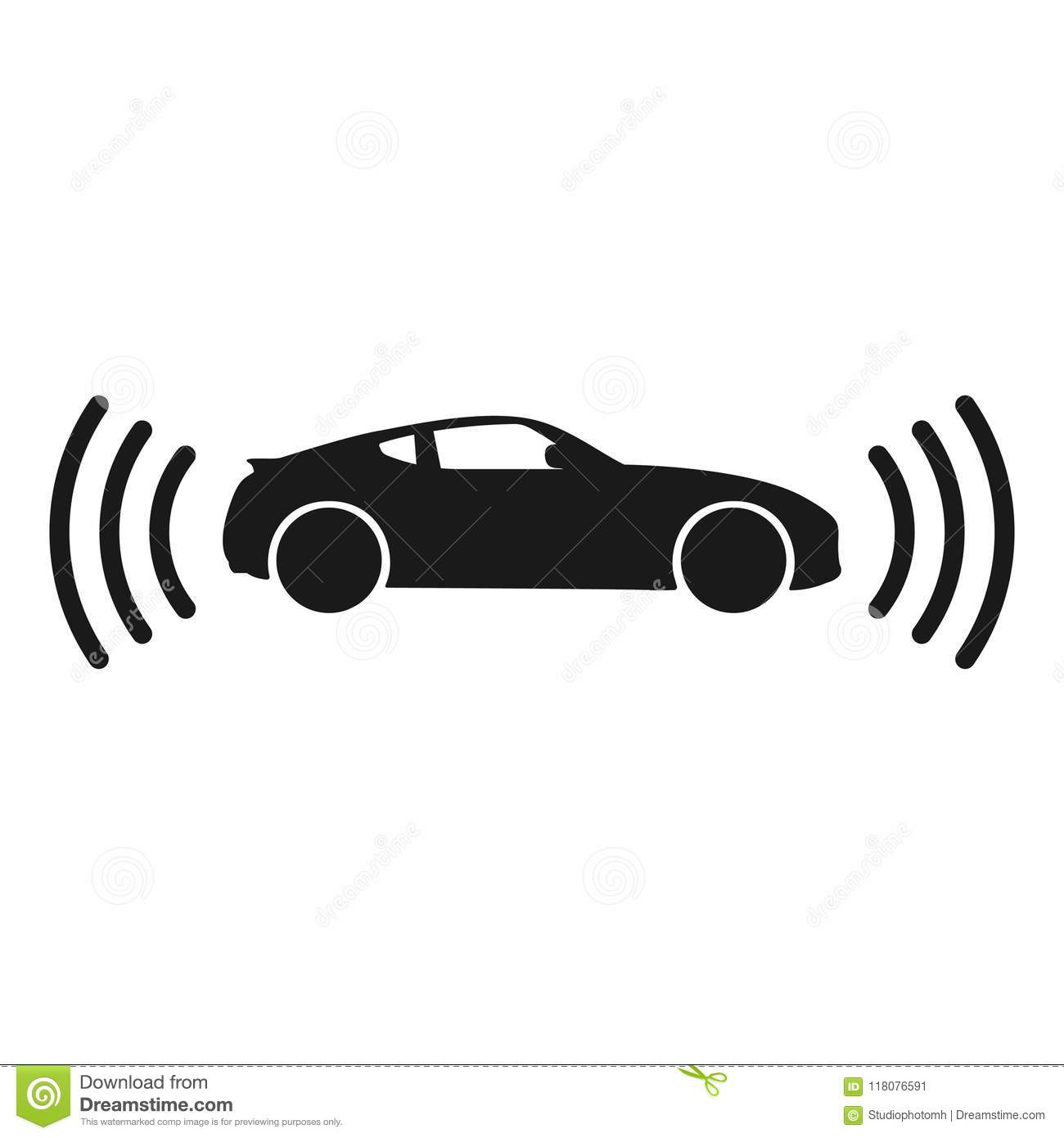 the connected car  smart car icon with wireless