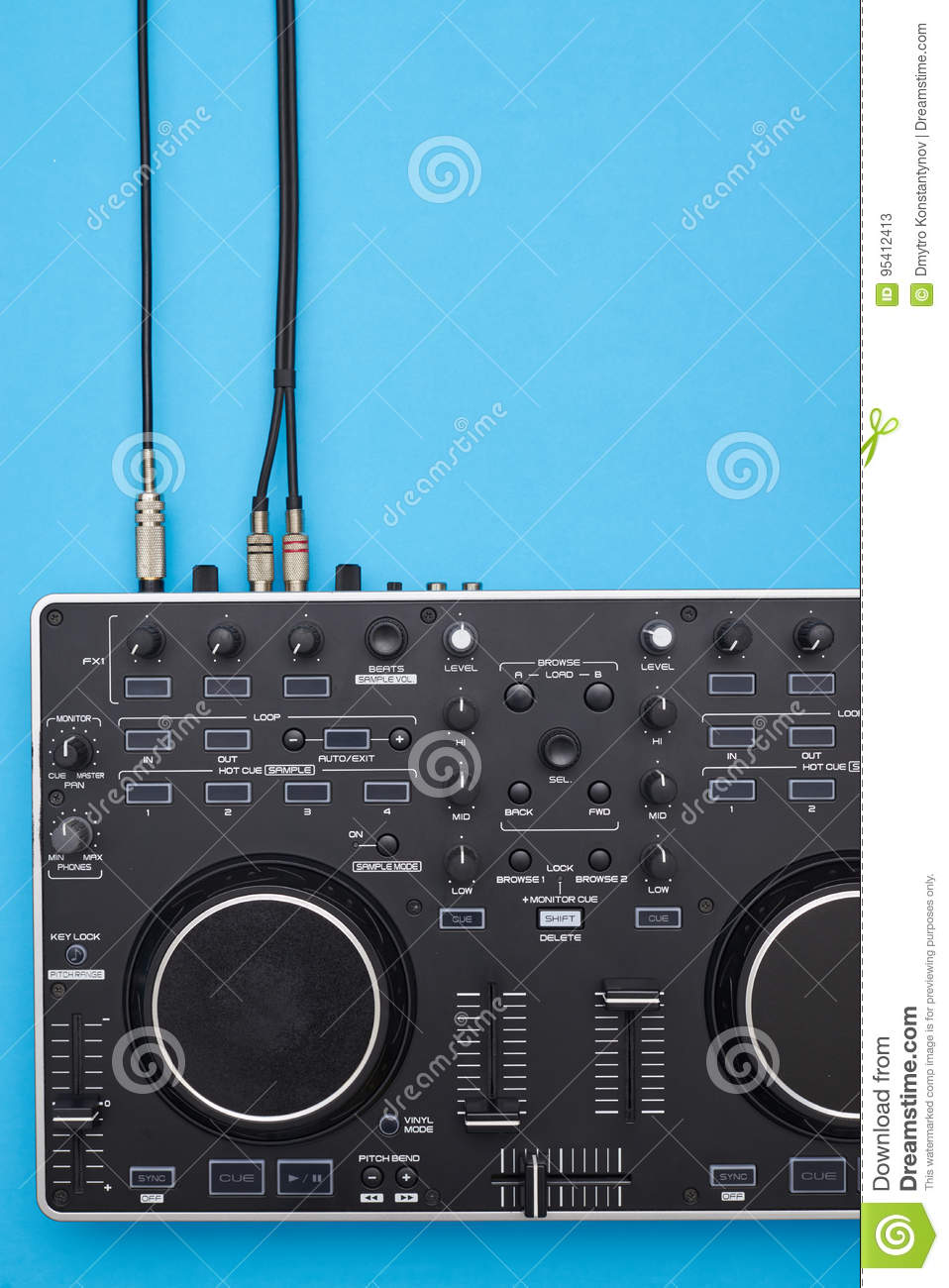 Connected DJ panel on blue background
