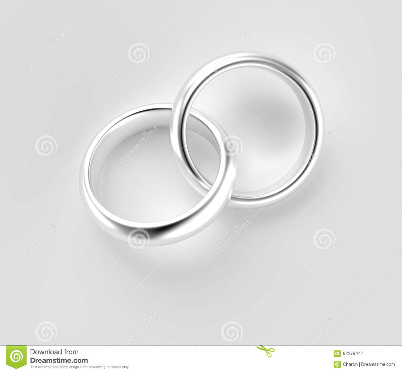 connected silver rings isolated stock illustration image