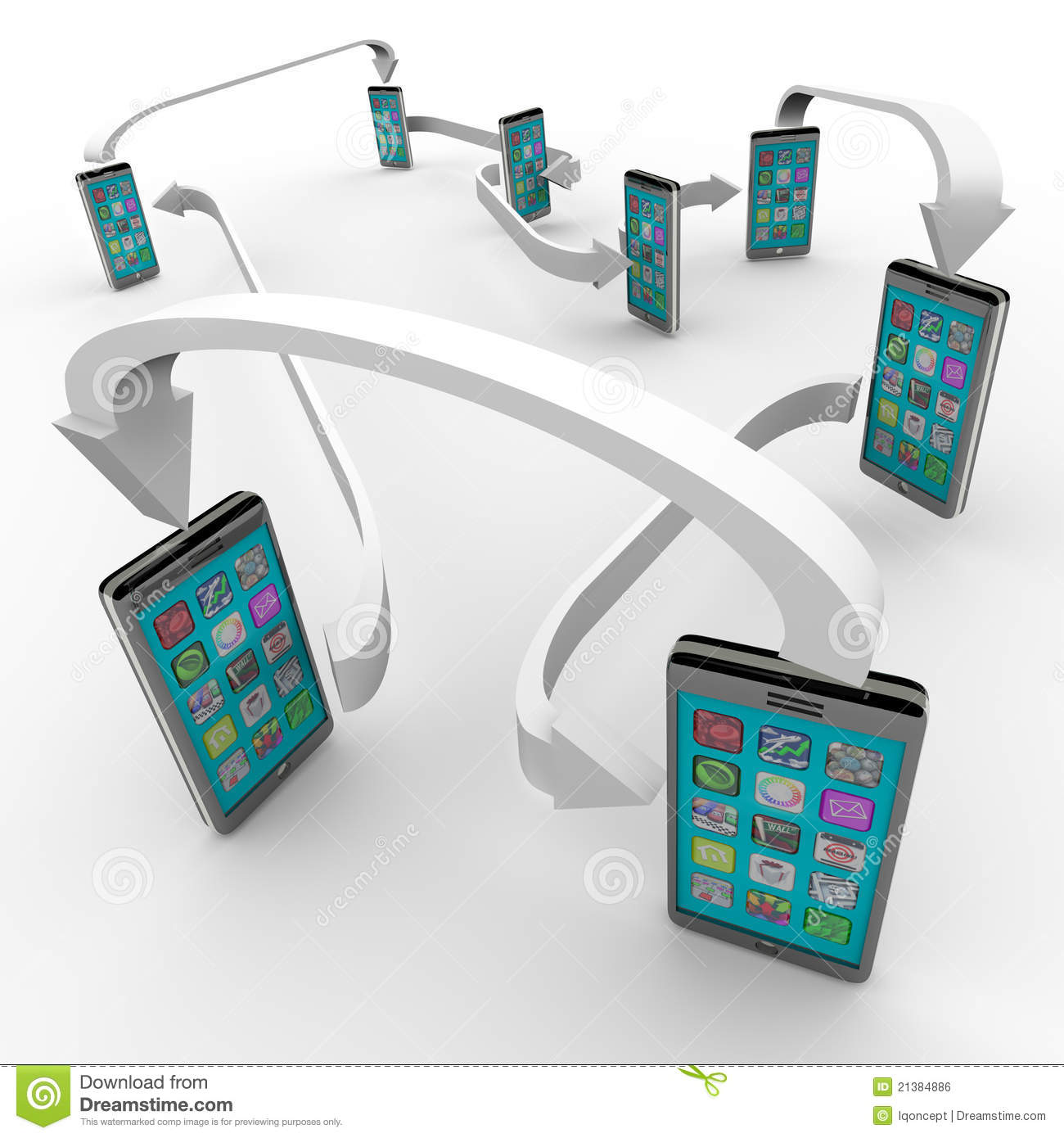 Connected Smart Phones Cell Phone Communication