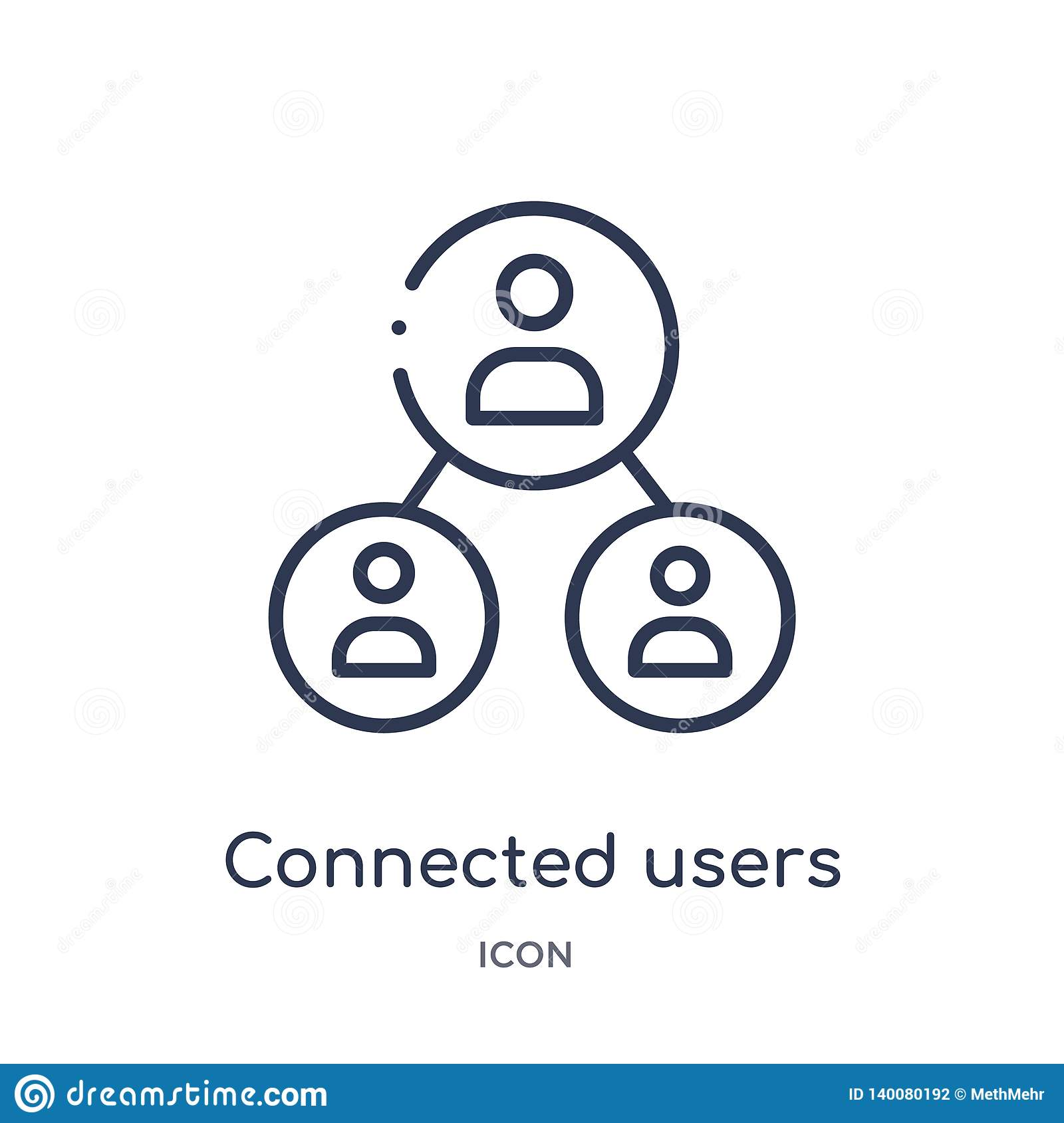 connected users in flow chart icon from user interface outline collection. Thin line connected users in flow chart icon isolated