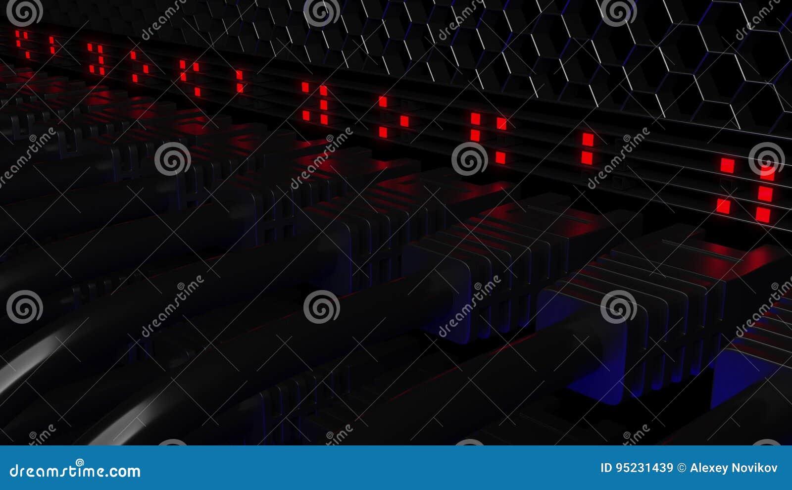 Connecteurs de serveur et lampes flash Connexion, réseau, technologie de nuage, grandes données ou concepts de calculs 3d